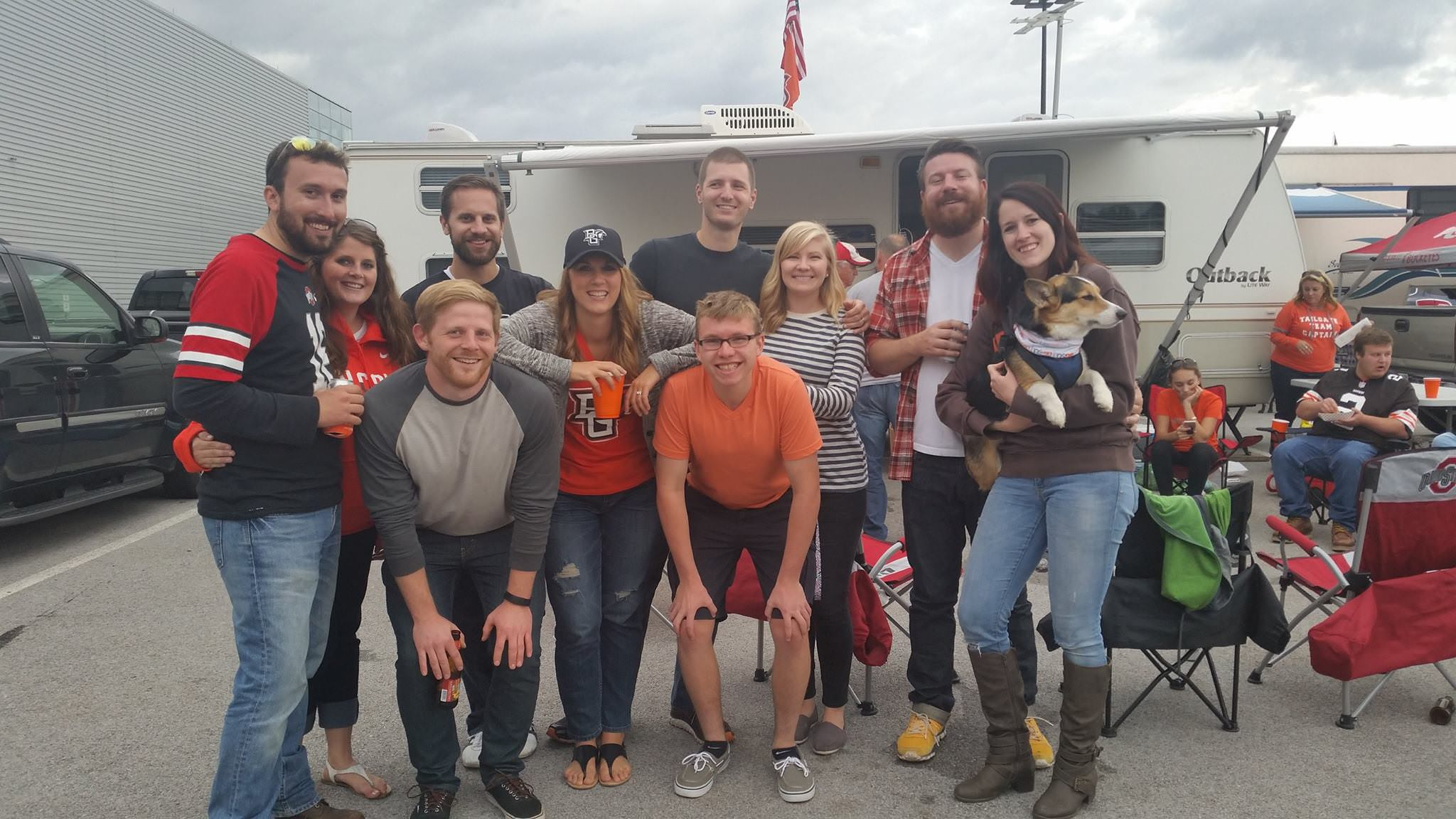 Friends tailgating at BGSU homecoming game.