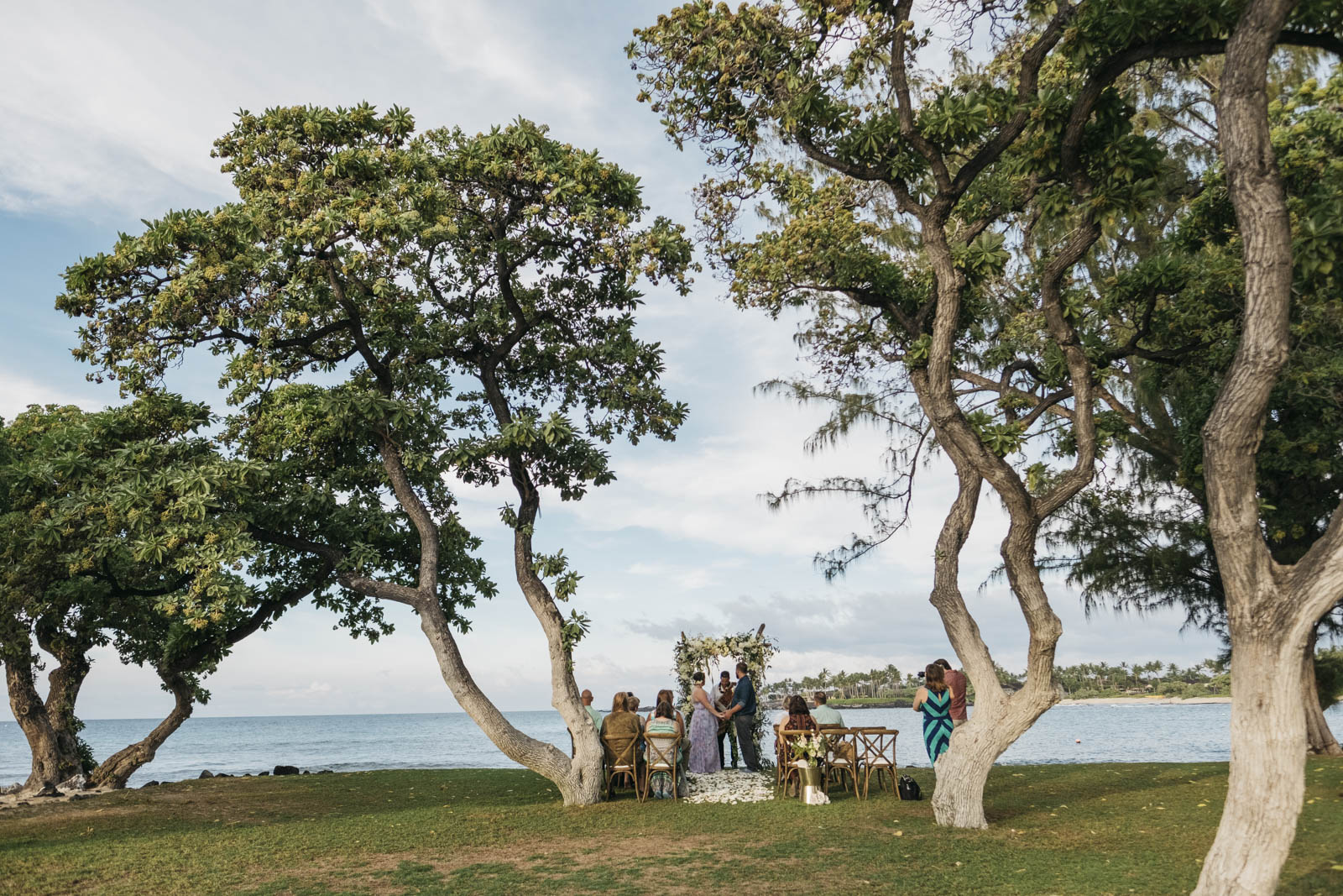 Destination wedding photography in Hawaii during ceremony.