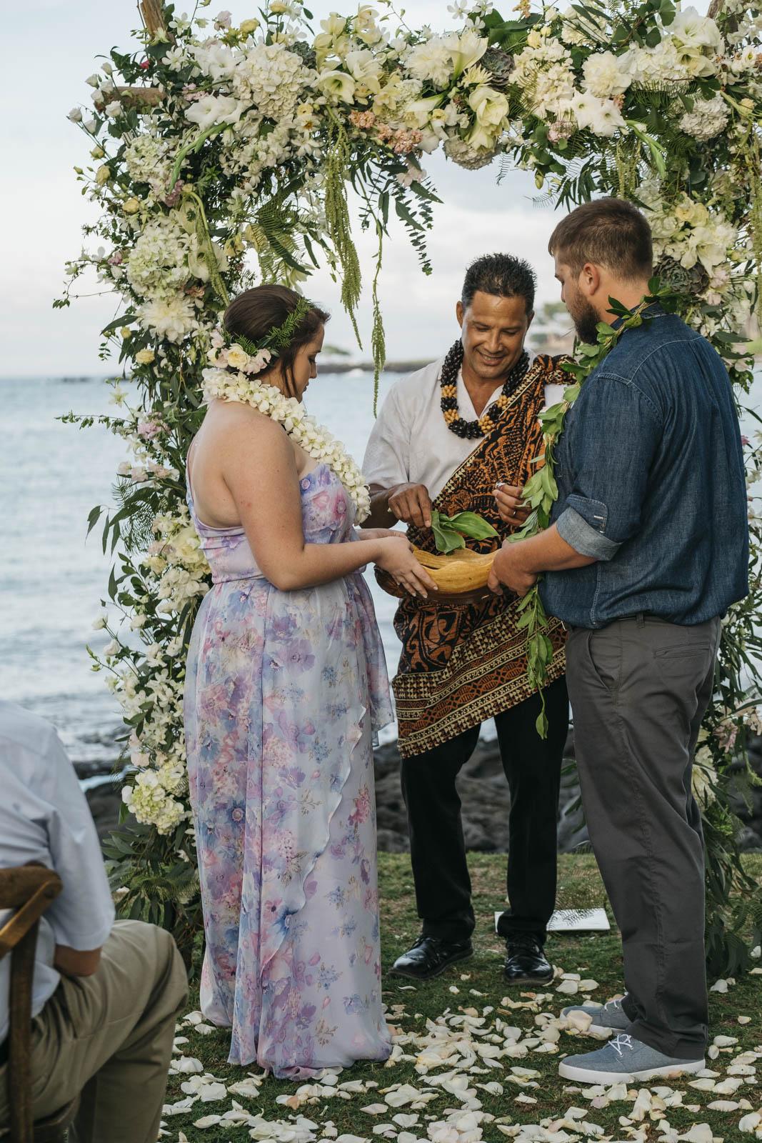 Traditions at Hawaiian wedding ceremony on The Big Island.