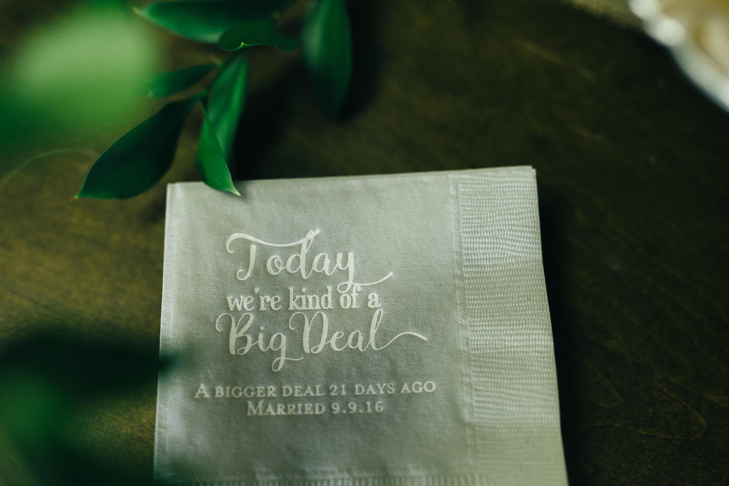 Custom napkins at wedding reception.