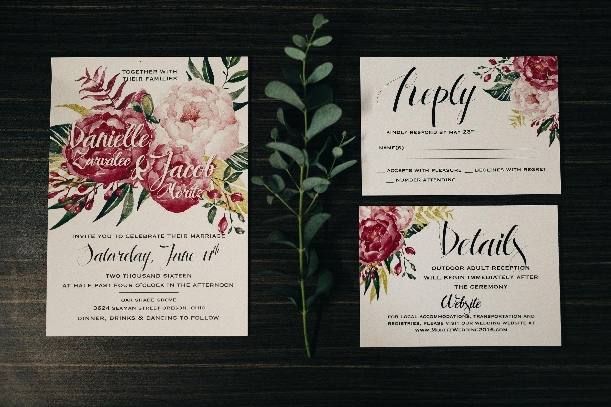 Wedding invitation suite with floral design for summer wedding.