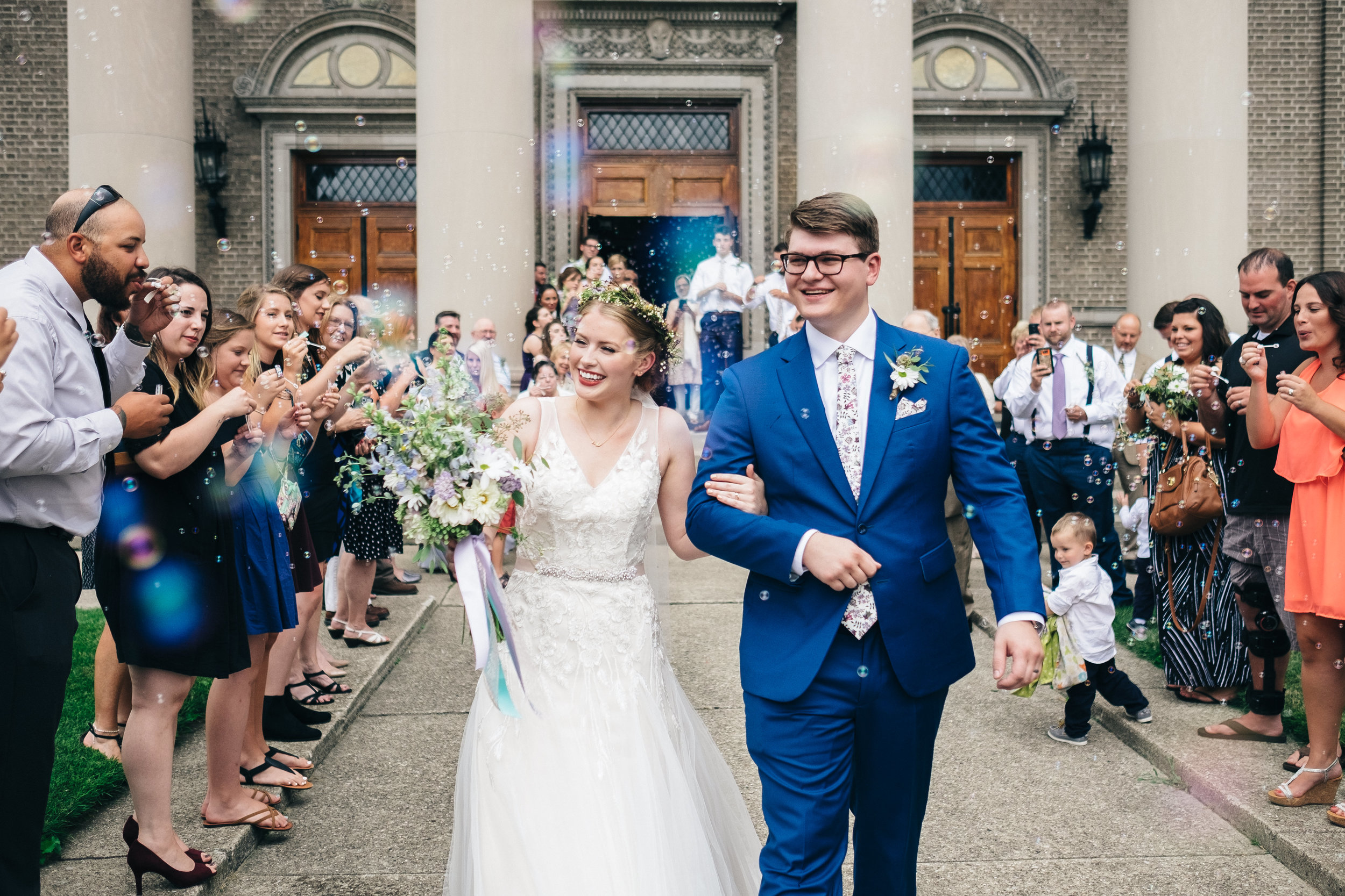 Bubble exit at wedding ceremony in downtown Toledo, Ohio.