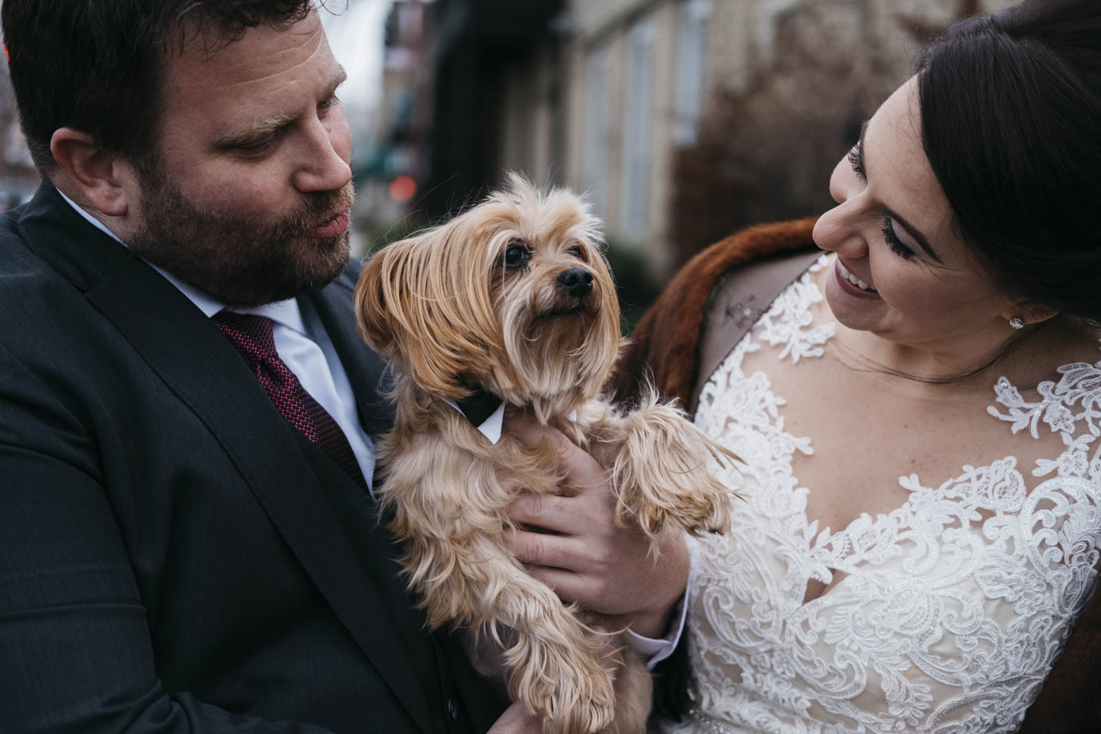 Pet photography with bride and groom on wedding day.