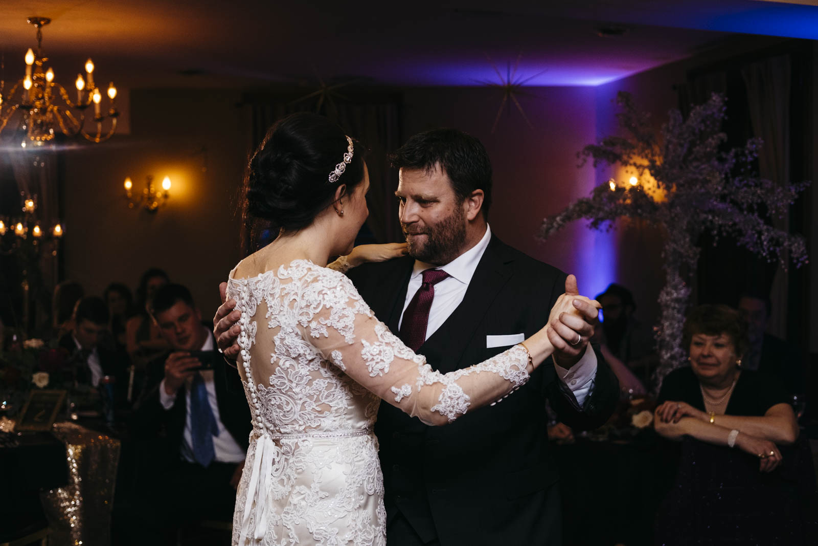 Bride and groom share first dance at wedding reception at Langley Hall.