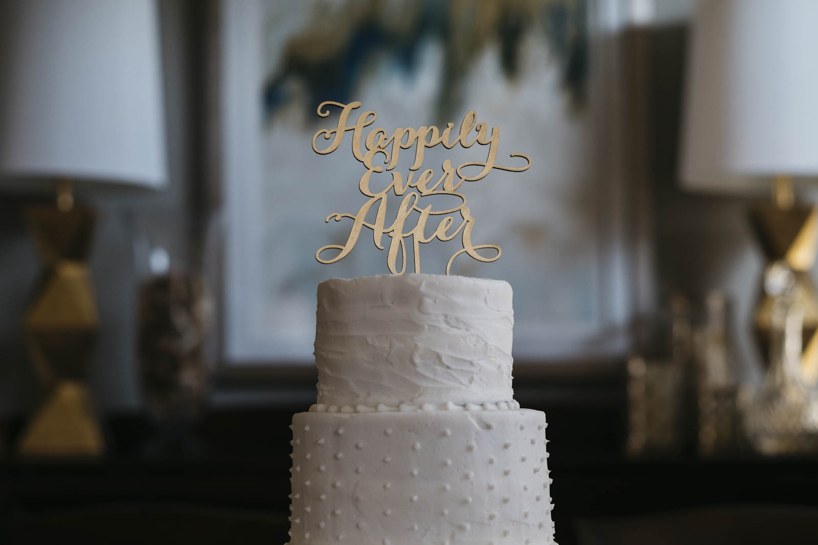 Wedding cake topper at Toledo in-home wedding