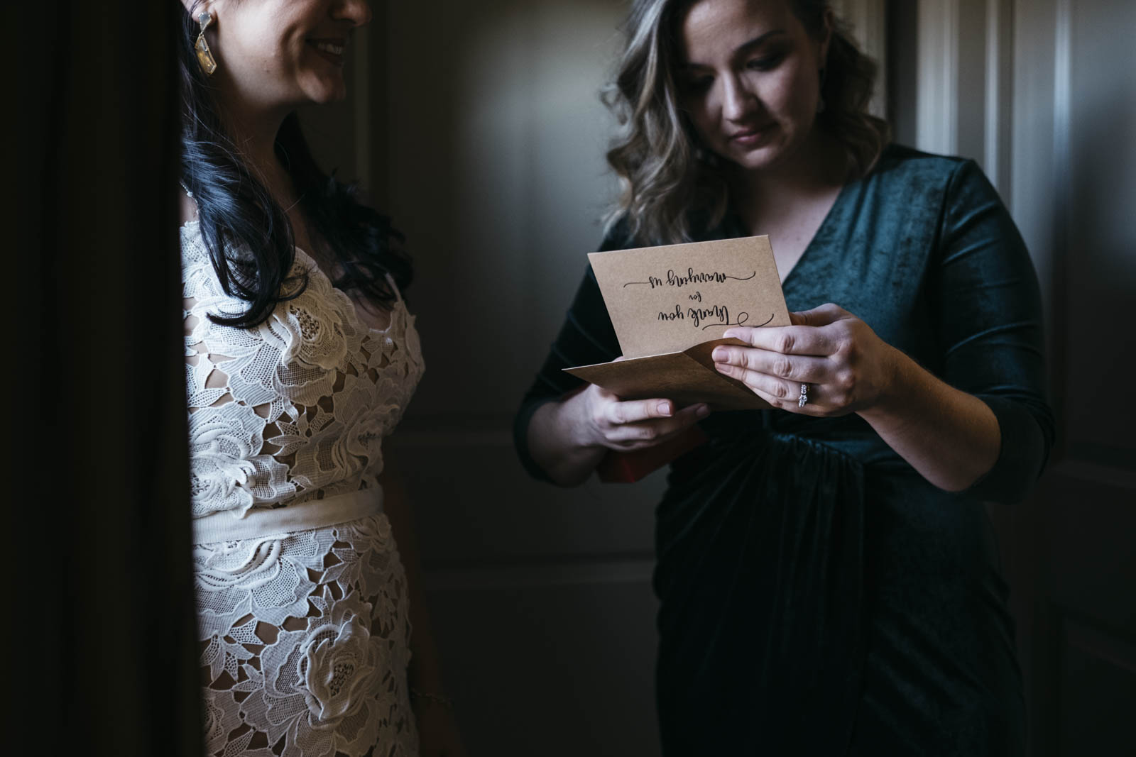 Bride giving her Maid of Honor a gift on her wedding day.