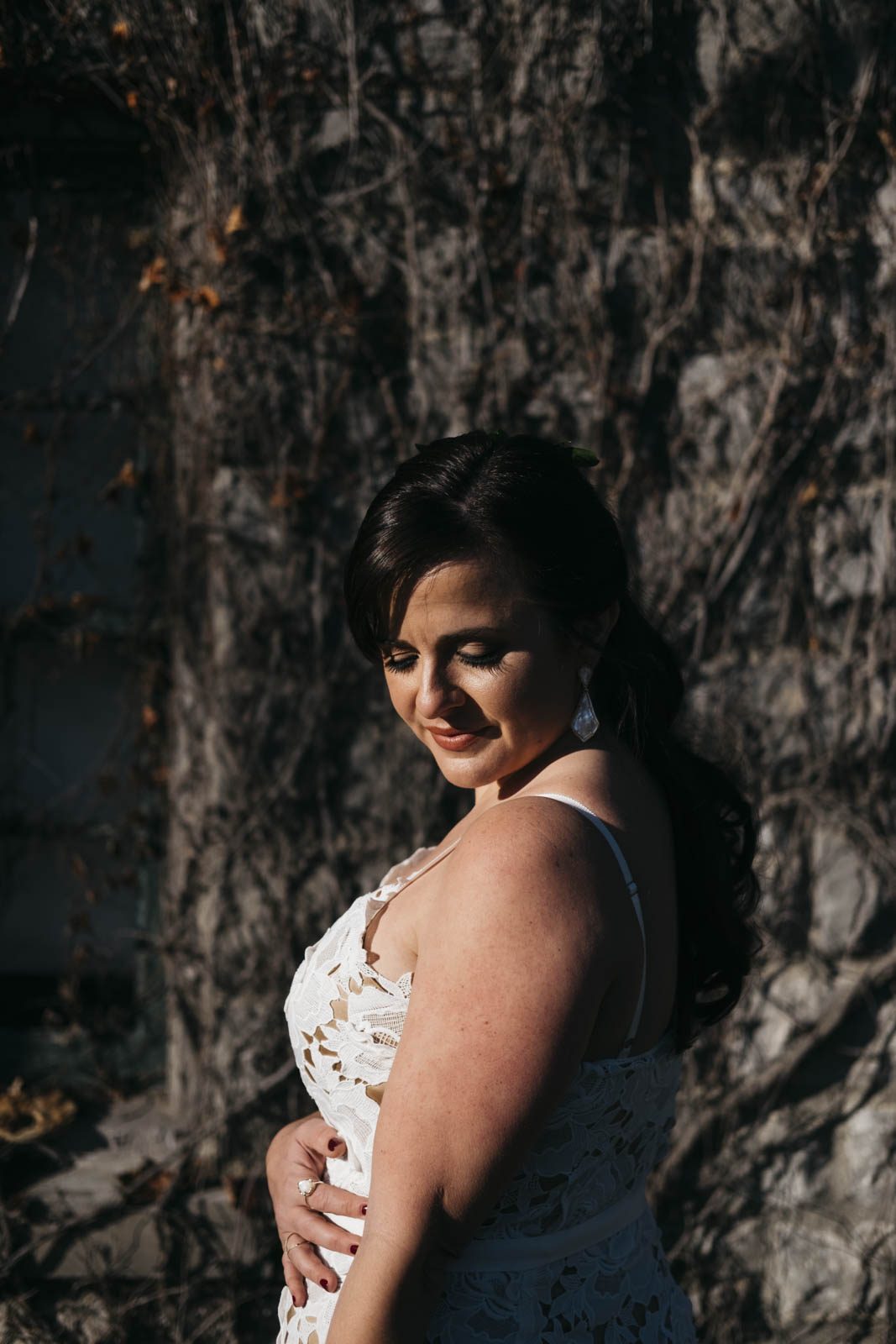 Portrait of the bride on her wedding day.