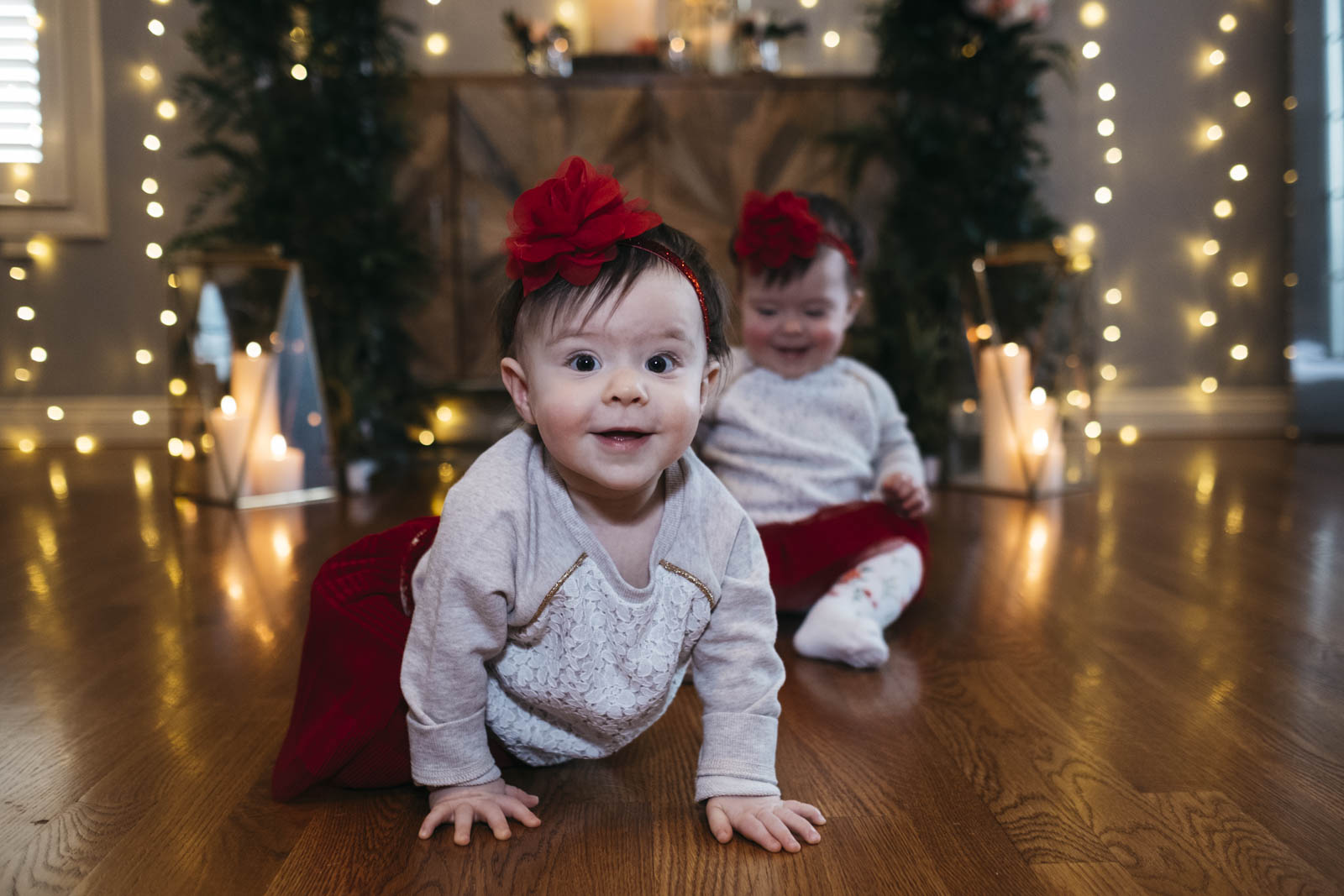 Twin babies at DIY New Year's Day Wedding ceremony.