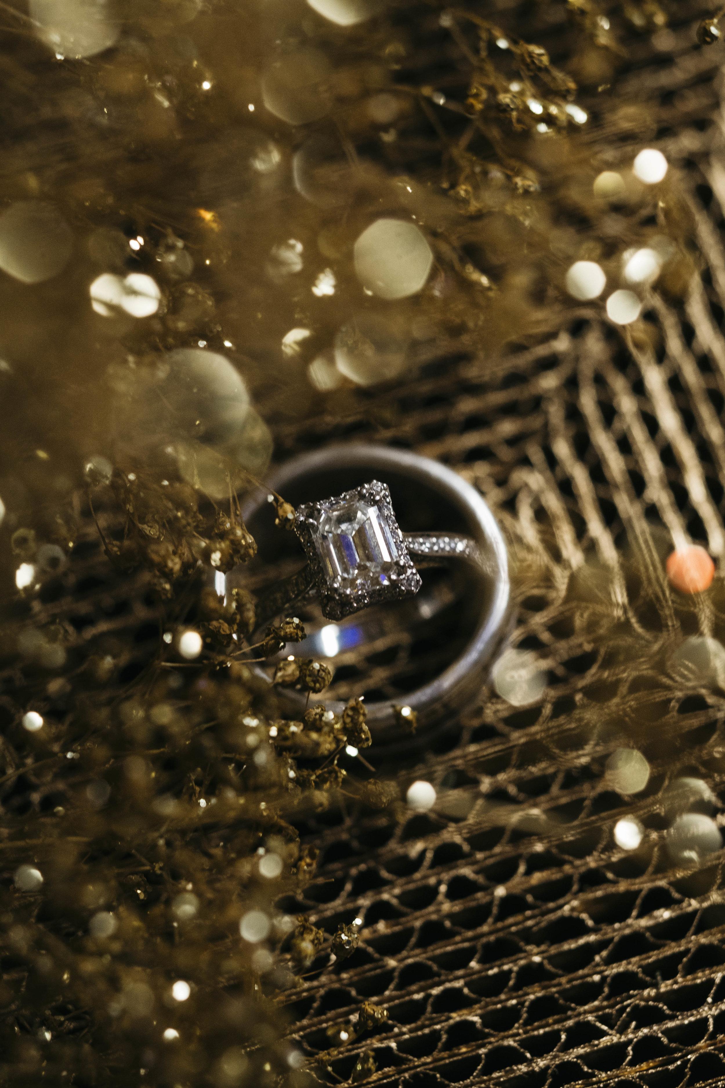 Gold wedding detail ring shot.
