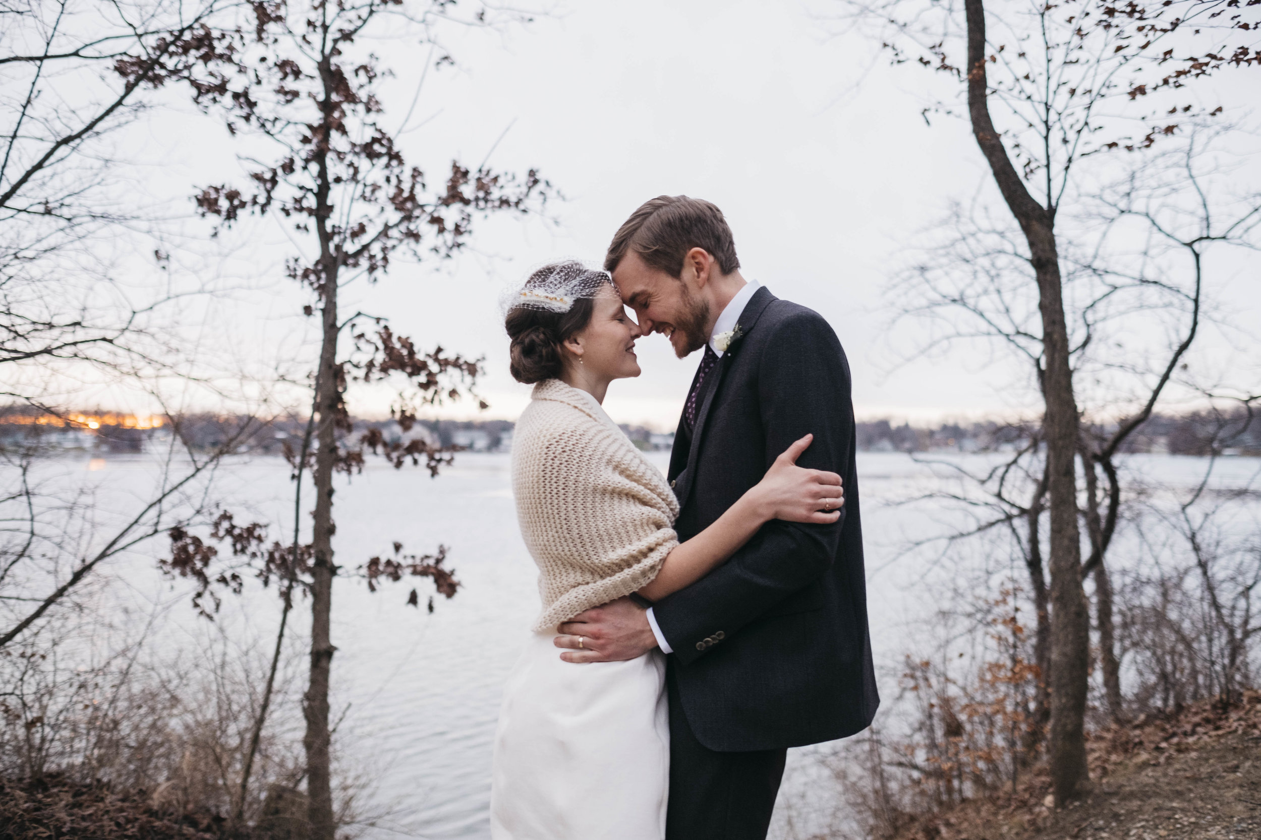 Bride and groom in winter wedding at Pokagon State Park.