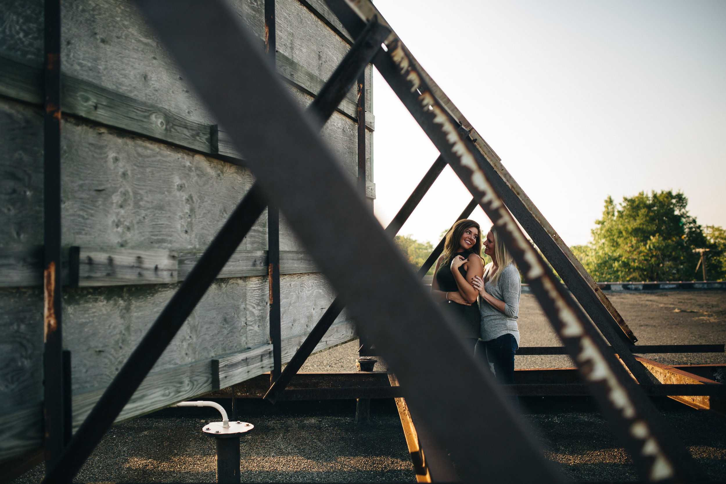 Rooftop engagement session in Toledo, Ohio.