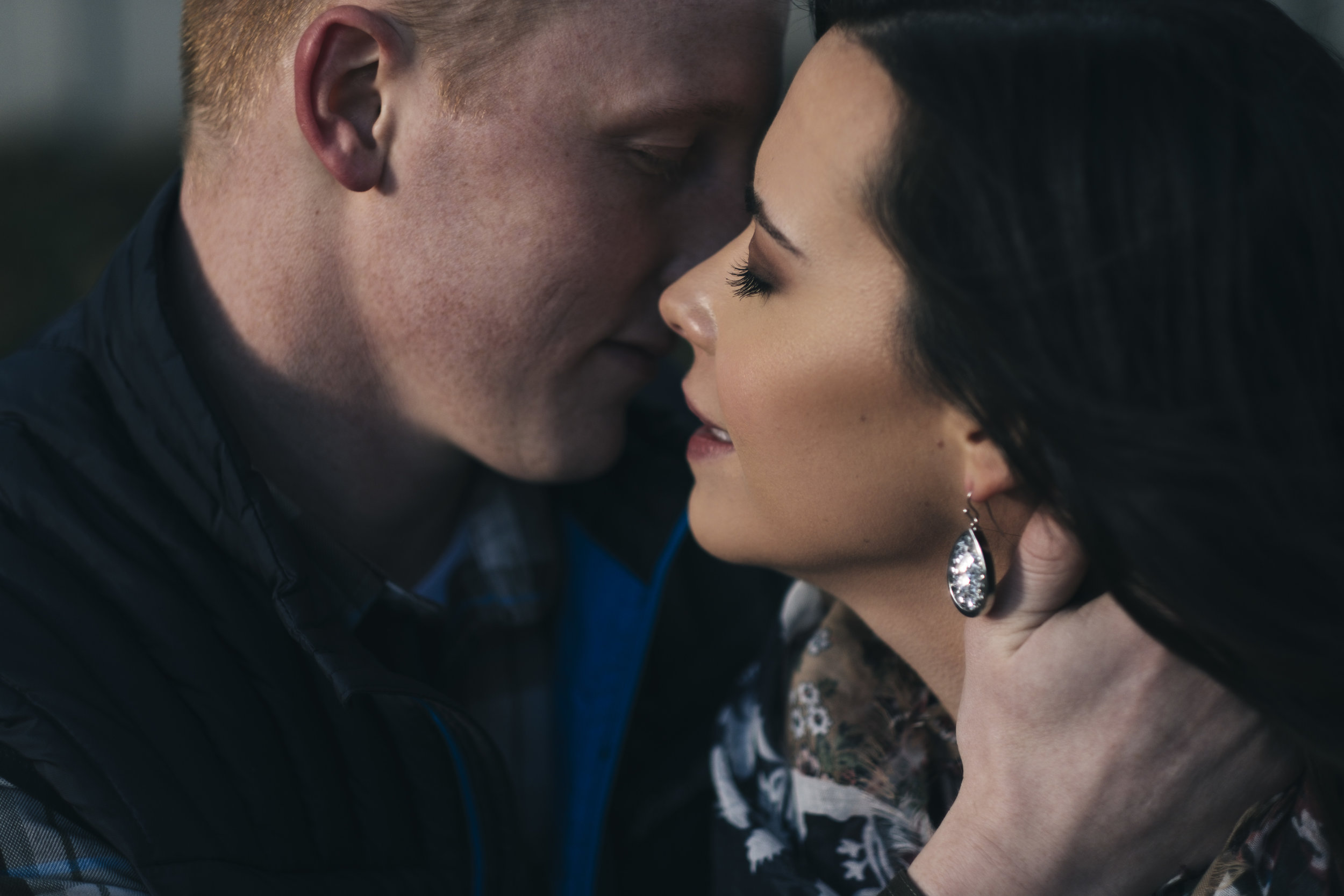 Couple kissing during engagement session in Dublin, Ohio.