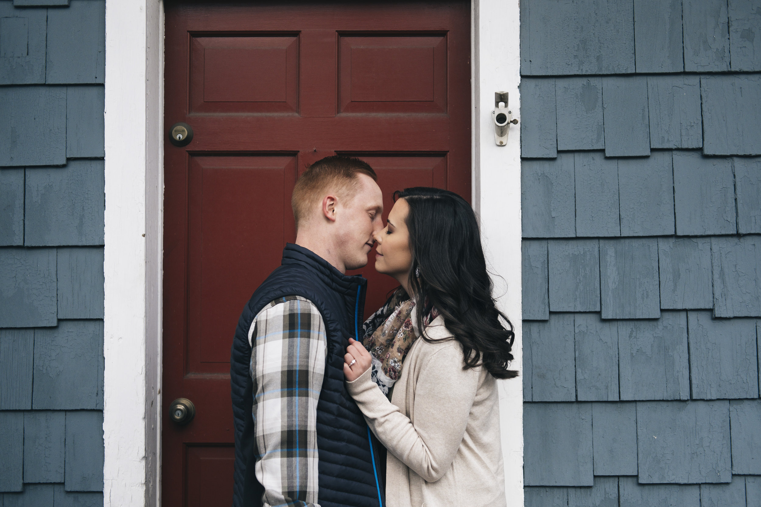 Couple about to kiss during engagement session in Columbus, Ohio.