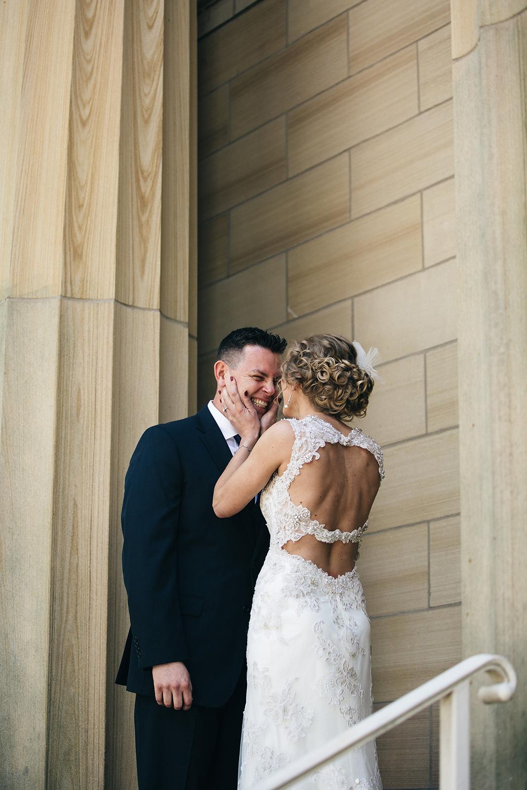 Bride and groom first look in Sandusky, Ohio.