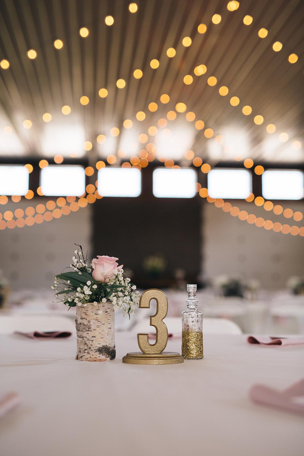 DIY wedding centerpieces at a wedding in Toledo, Ohio.