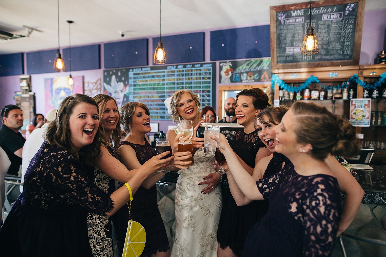 Bridal party stops at brewery in Sandusky, Ohio on wedding day.