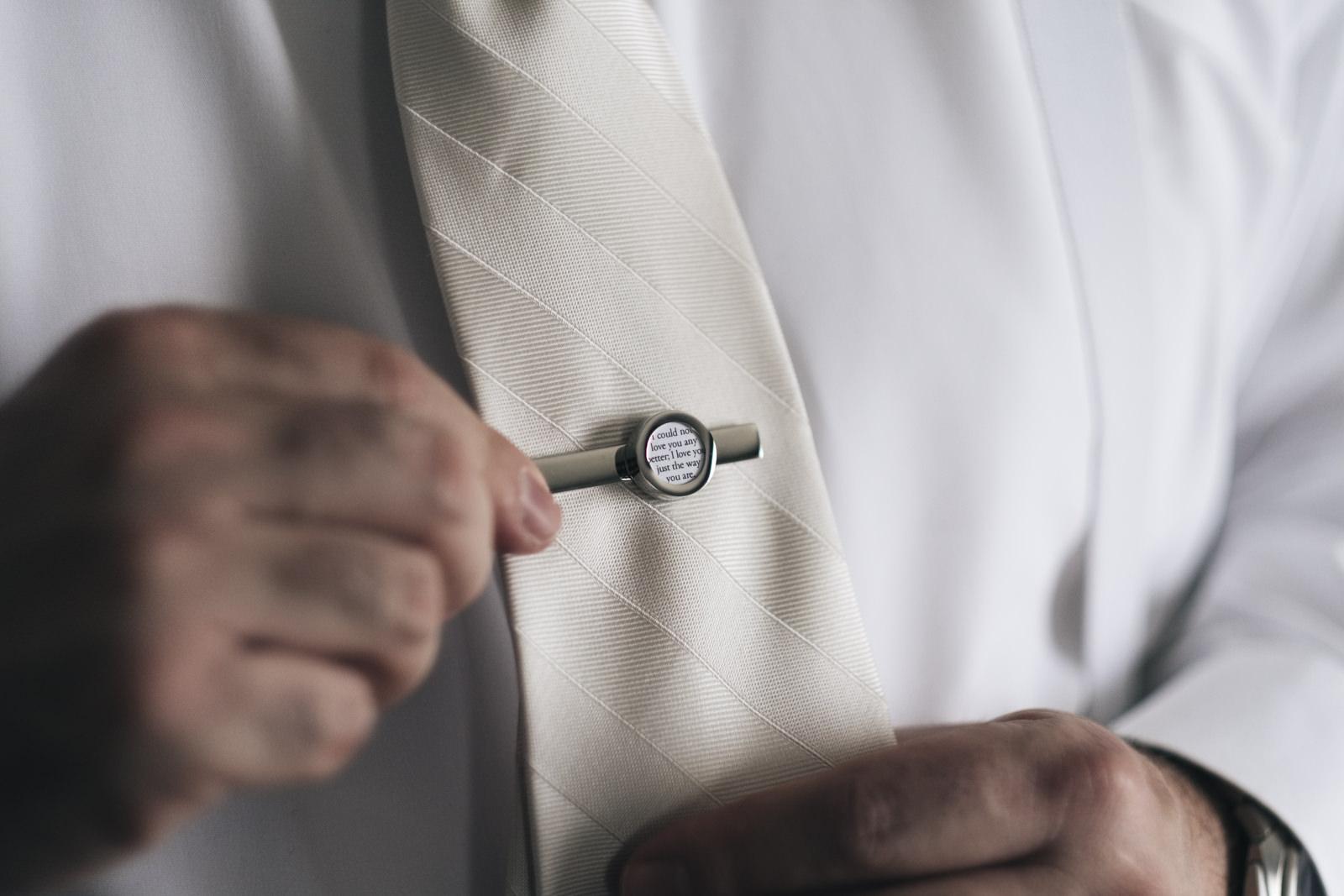 Groom's custom tie clip wedding gift.