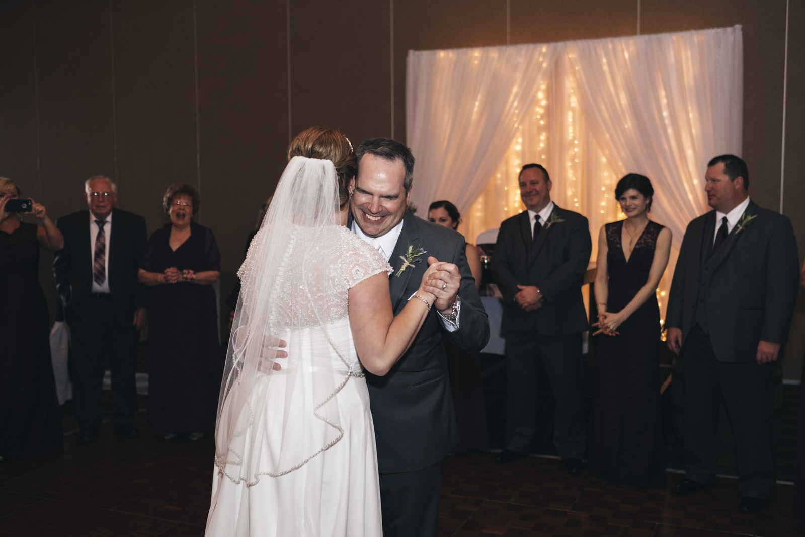 Bride and groom's first dance at Hilton Garden Inn at Levis Commons