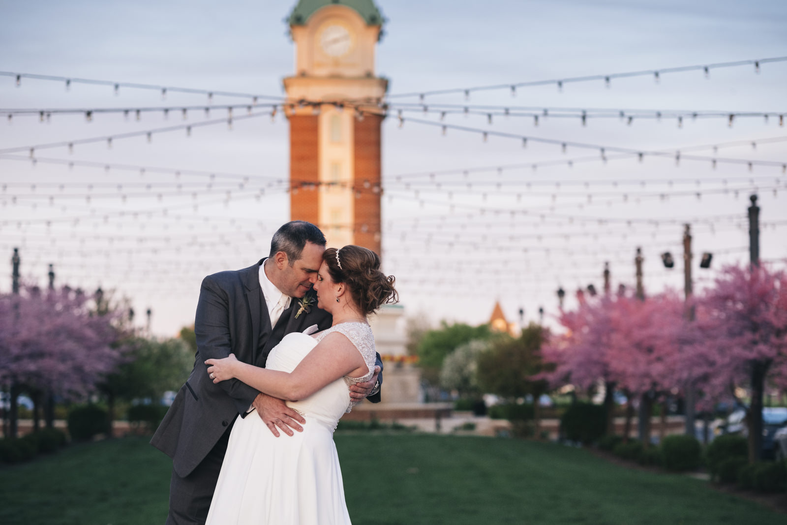 Bride and groom portrait at Levis Commons.