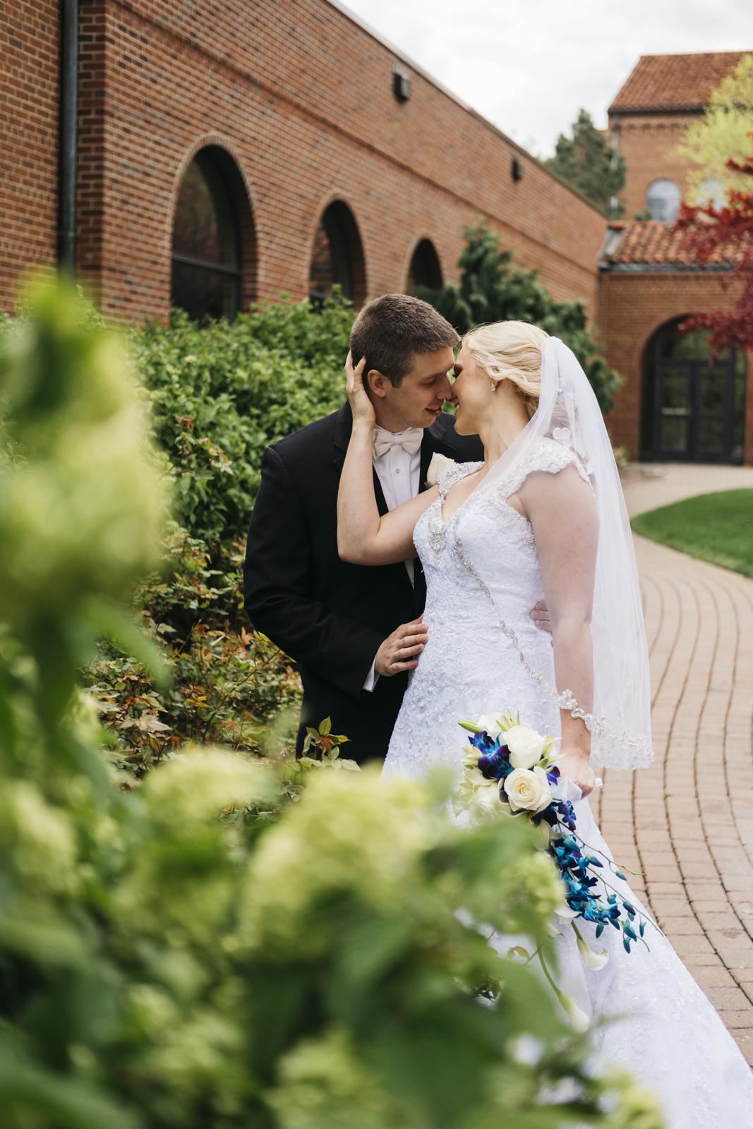 Bride and groom at The Inn at St. John's wedding.