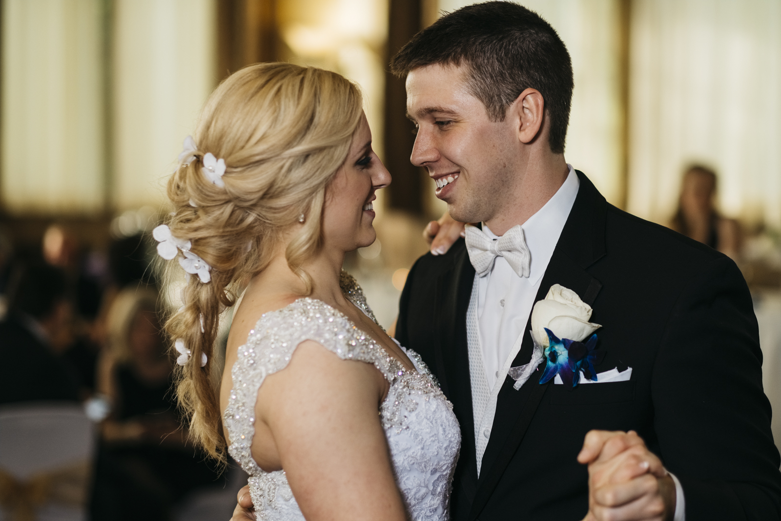 First dance for bride and groom at wedding reception in Plymouth, Michigan.