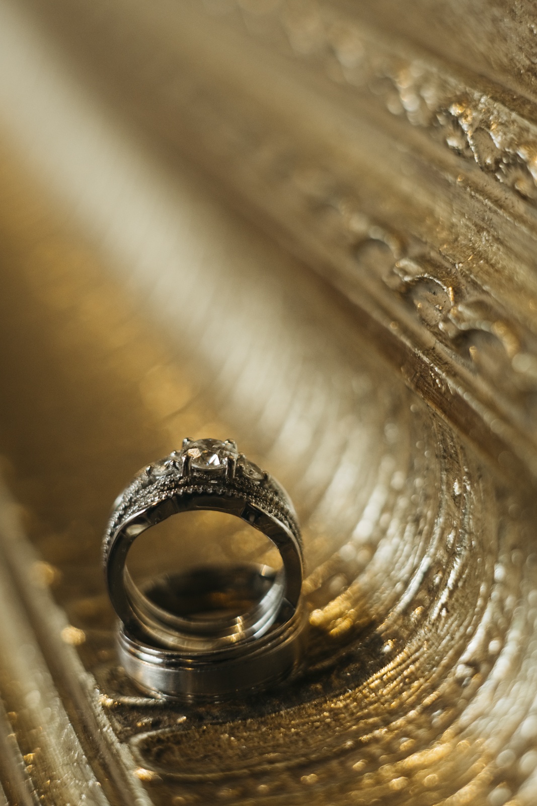 Diamond ring detail photography at wedding in Plymouth, Michigan.