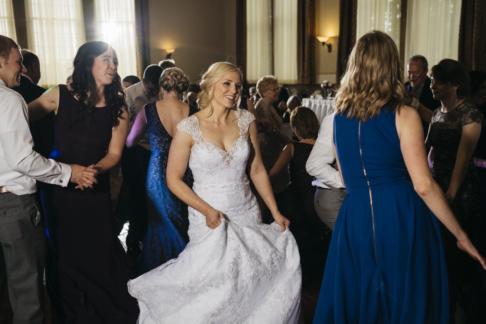 Bride dancing at reception at The Inn at St.John's.