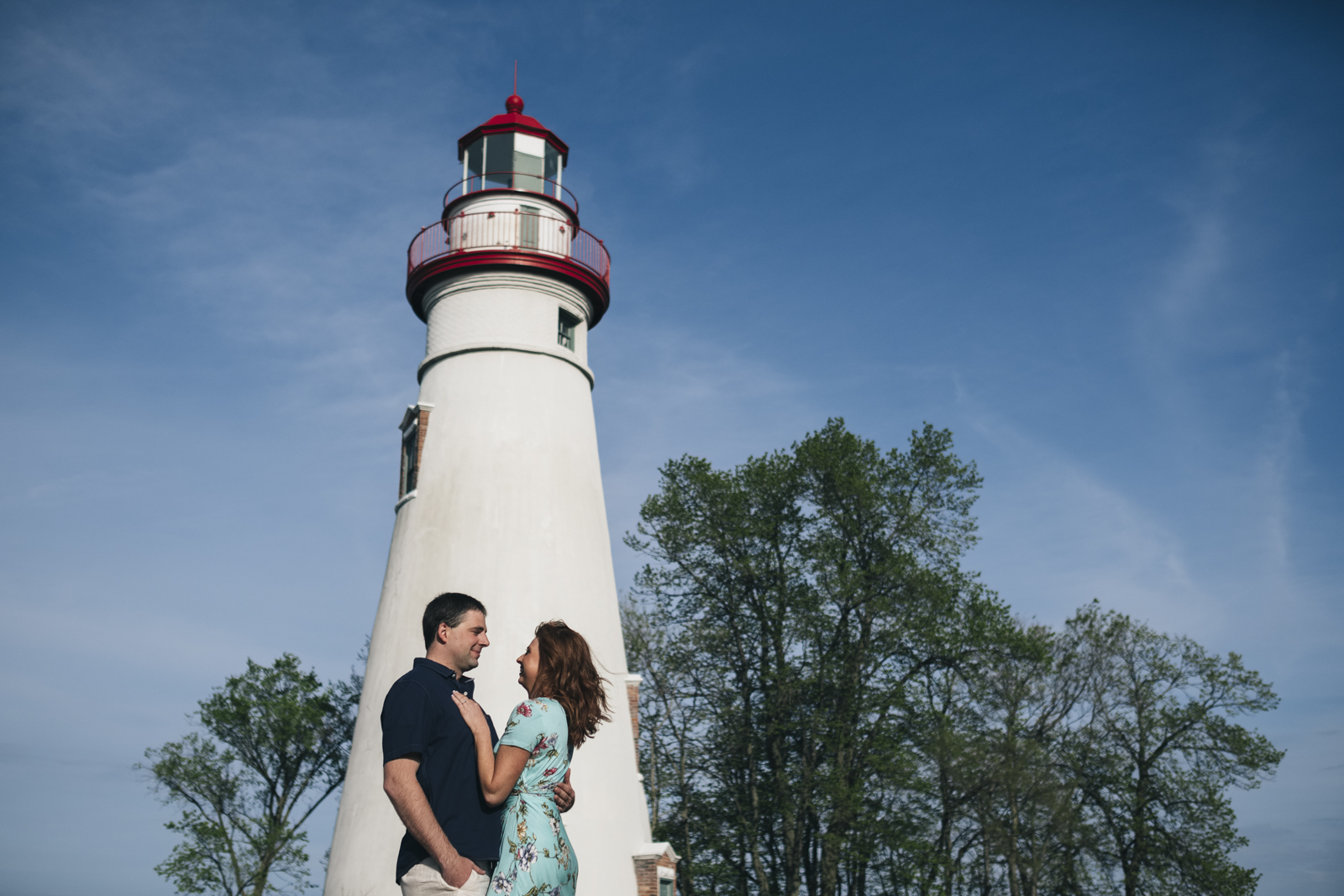 Engagement session at the lighthouse in Marblehead, Ohio.