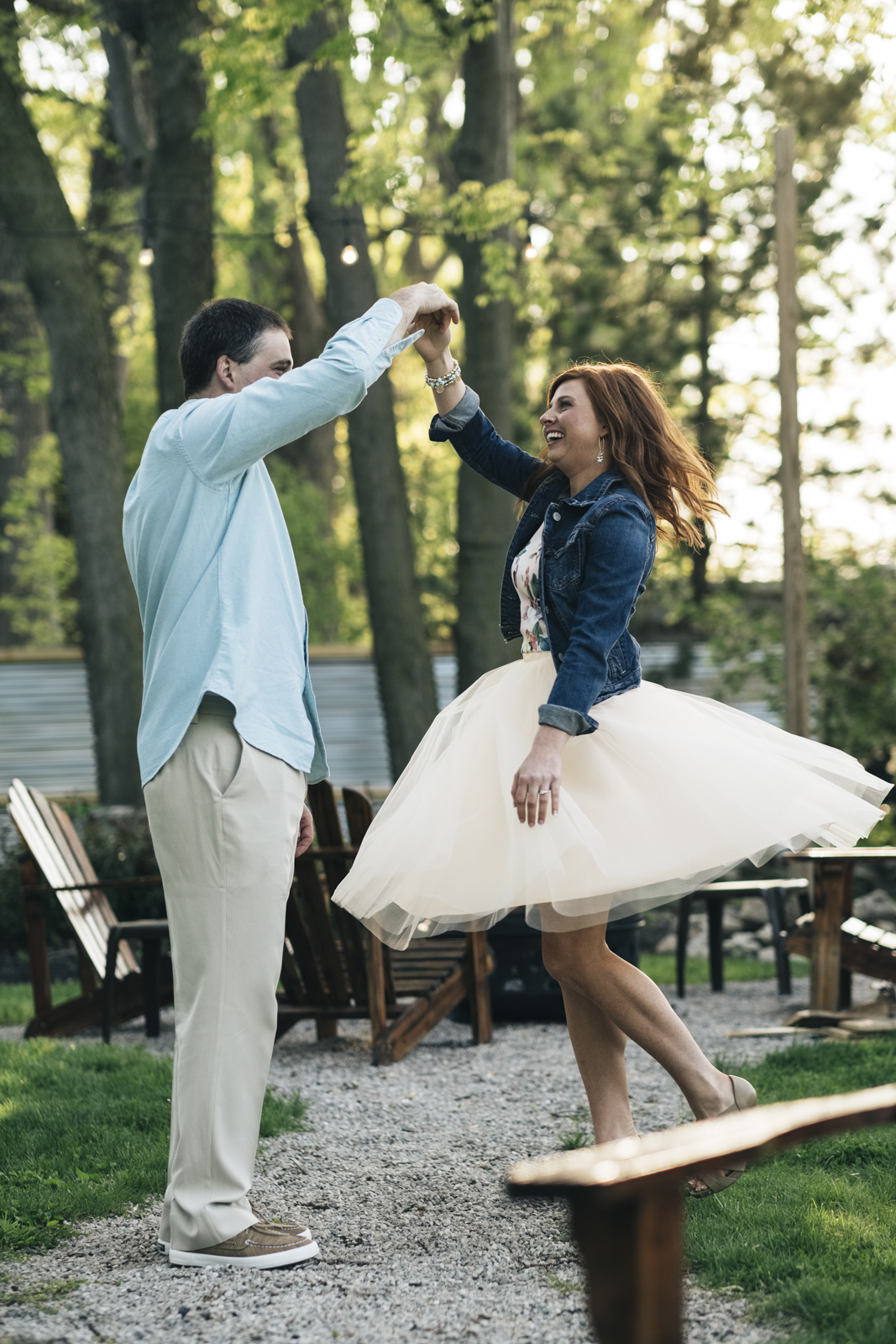Engagement session in a tutu.
