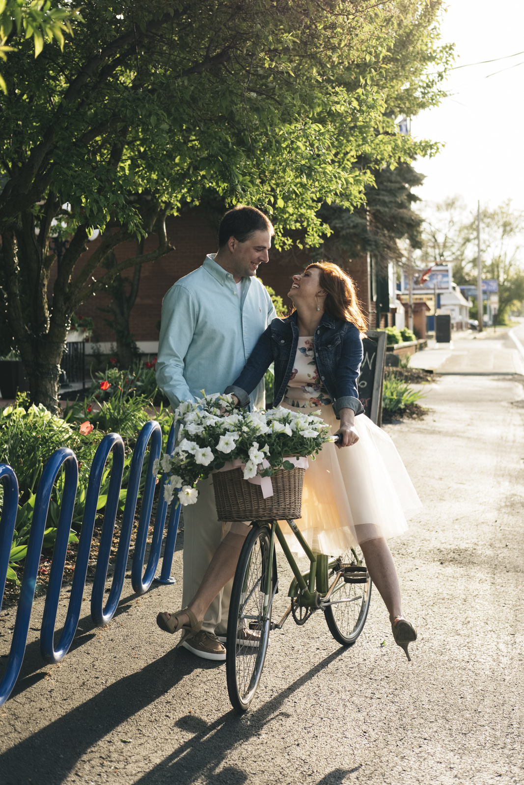 Engagement session with a bike.