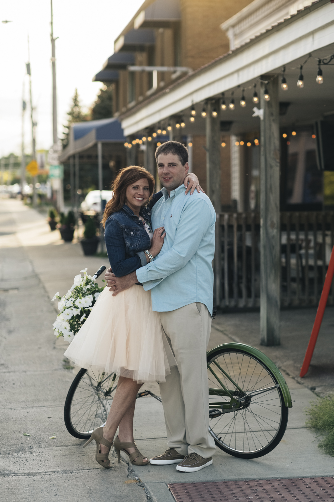 Sunset engagement session in downtown Marblehead Island, Ohio.