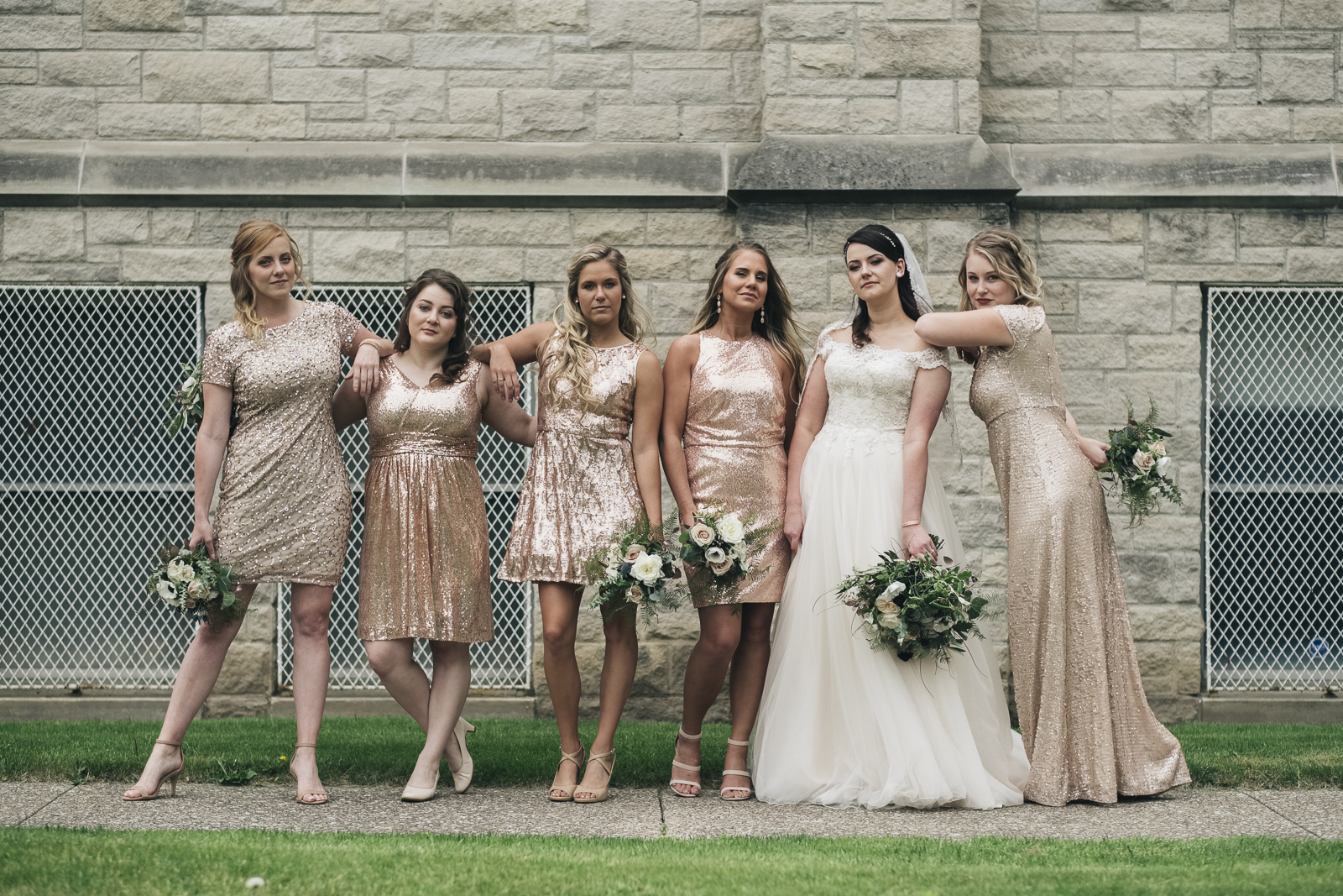 Bridesmaids portrait outside of St. Mark's Lutheran Church.