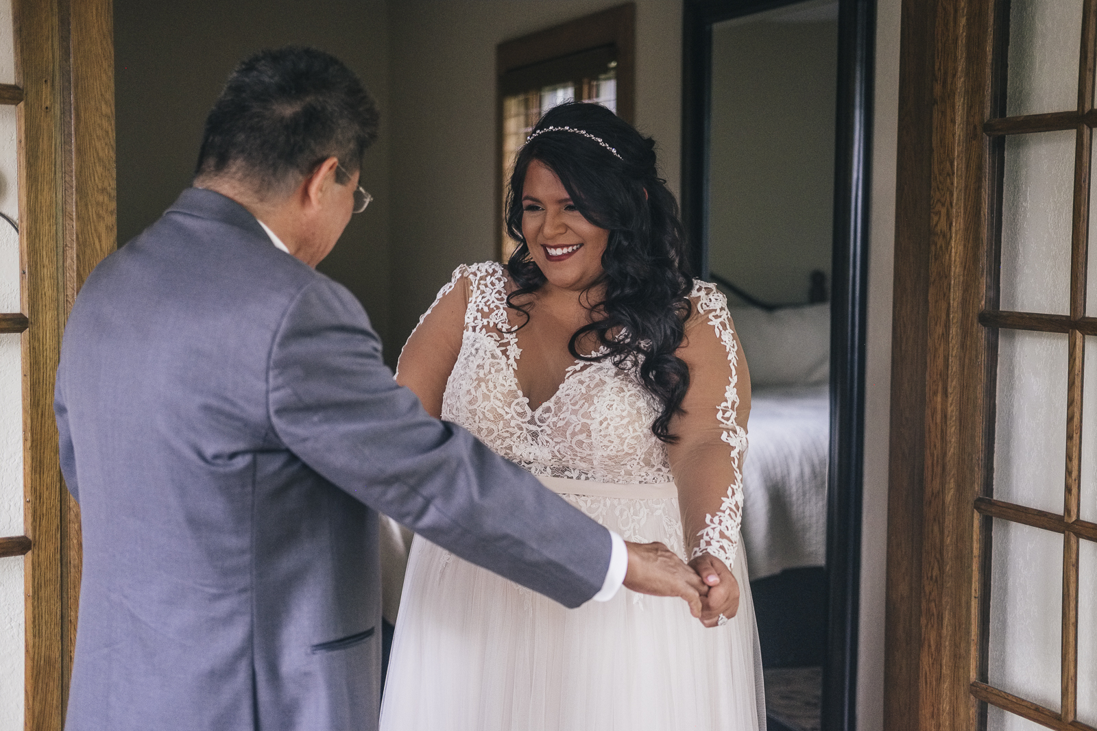 First look of bride with her father.