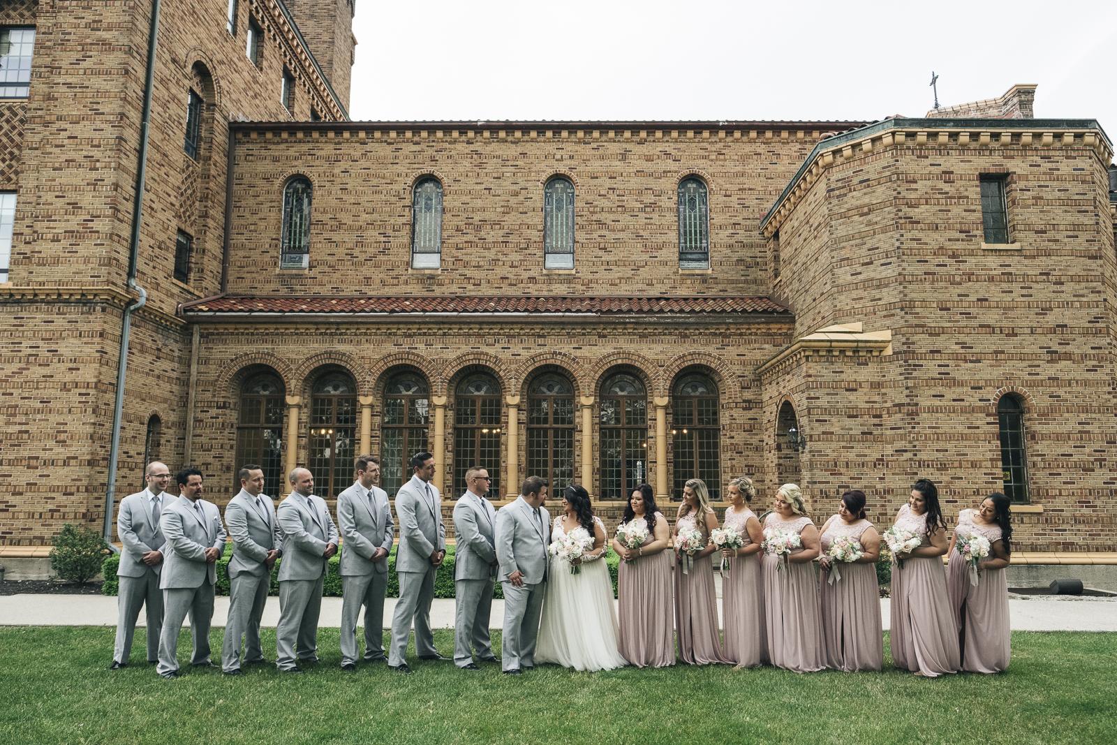 Blush and gray bridal party photography at Nazareth Hall.