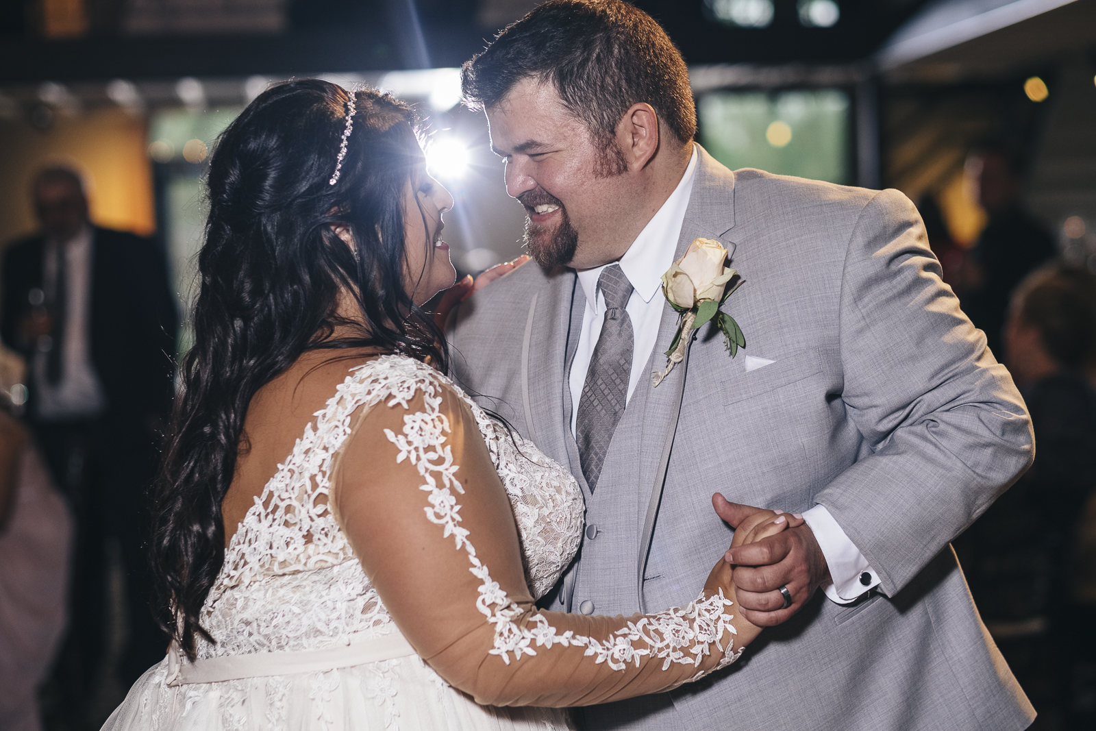 Bride and groom share first dance at Nazareth Hall wedding reception.