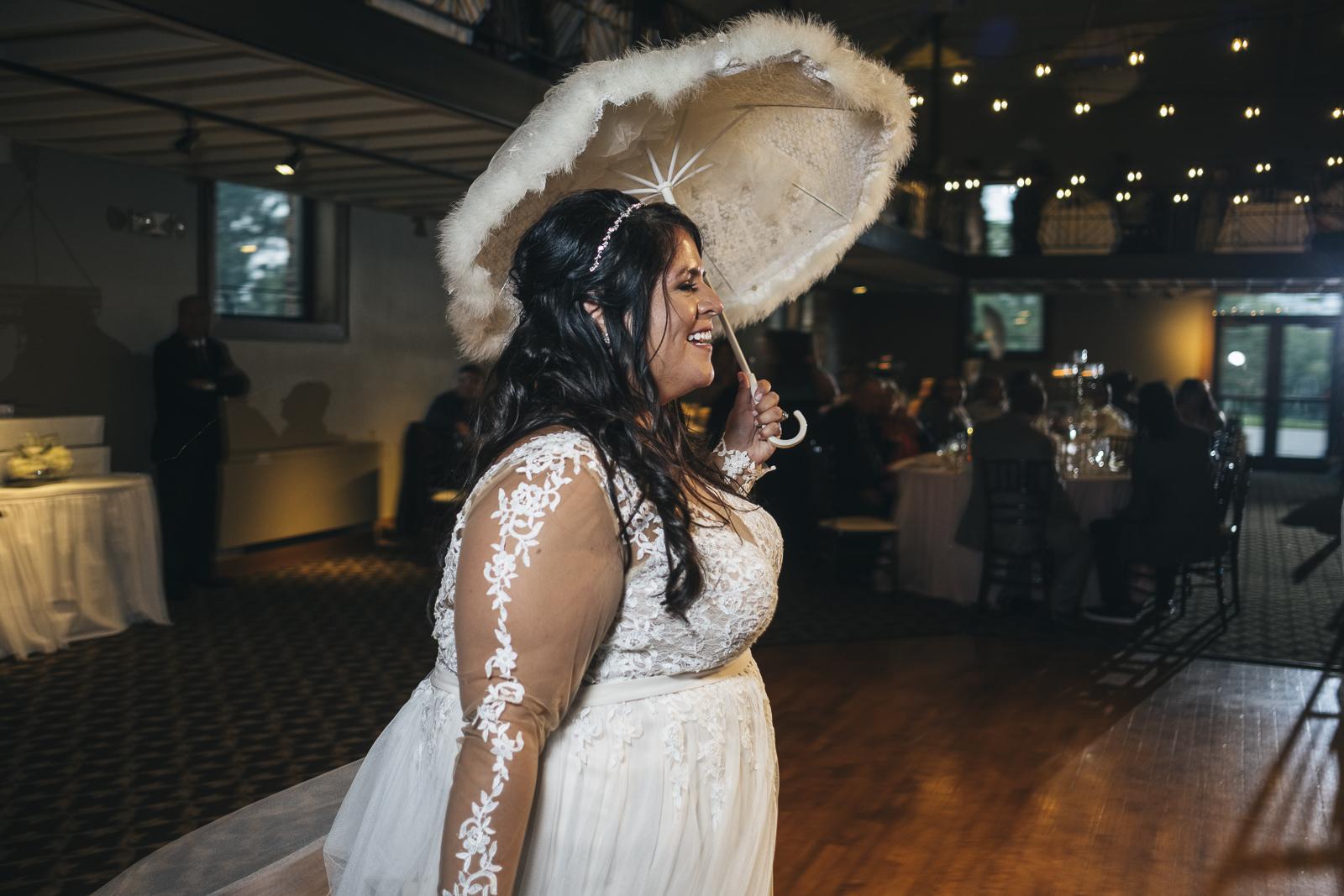 Bride participates in Second Line at her wedding reception.