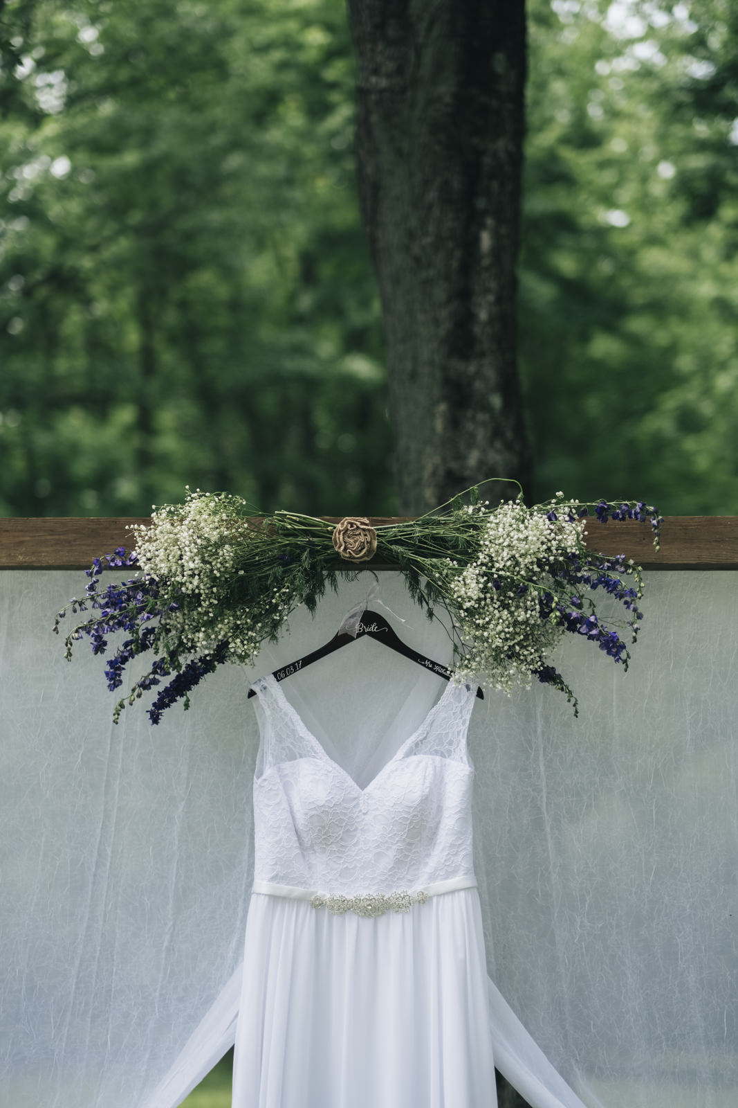 Wedding dress with lavender and baby's breath details.
