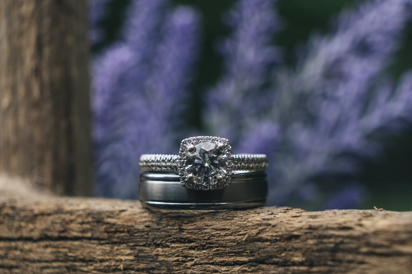 Detail photo of wedding bands.