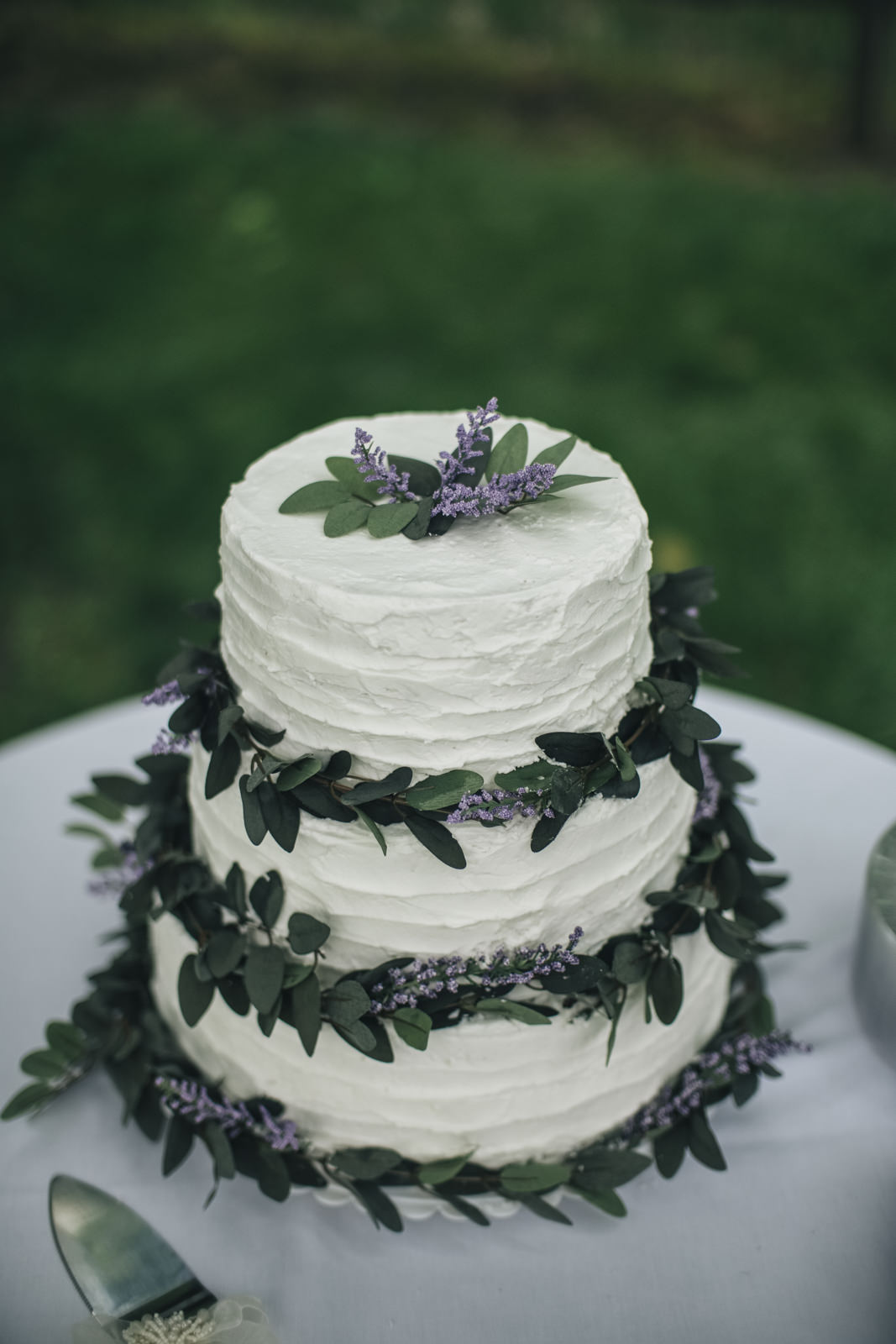 Backyard wedding cake with lavender and olive branch.