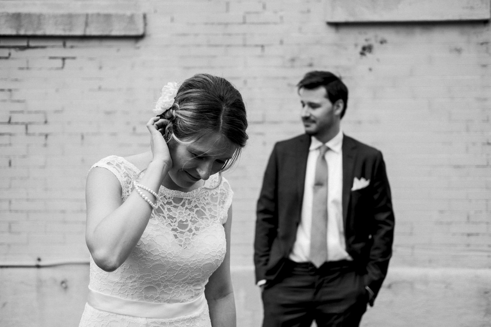 Black and white image of bride and groom during styled session in Ohio.