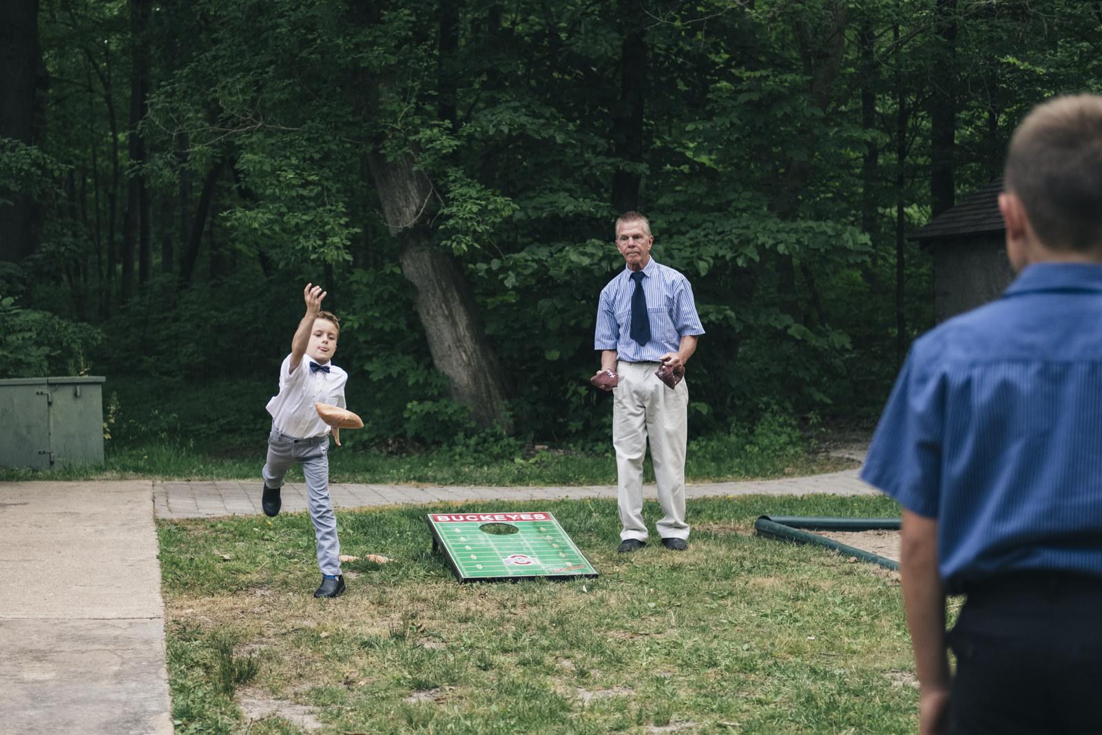 Ohio outdoor wedding receptions always include cornhole!