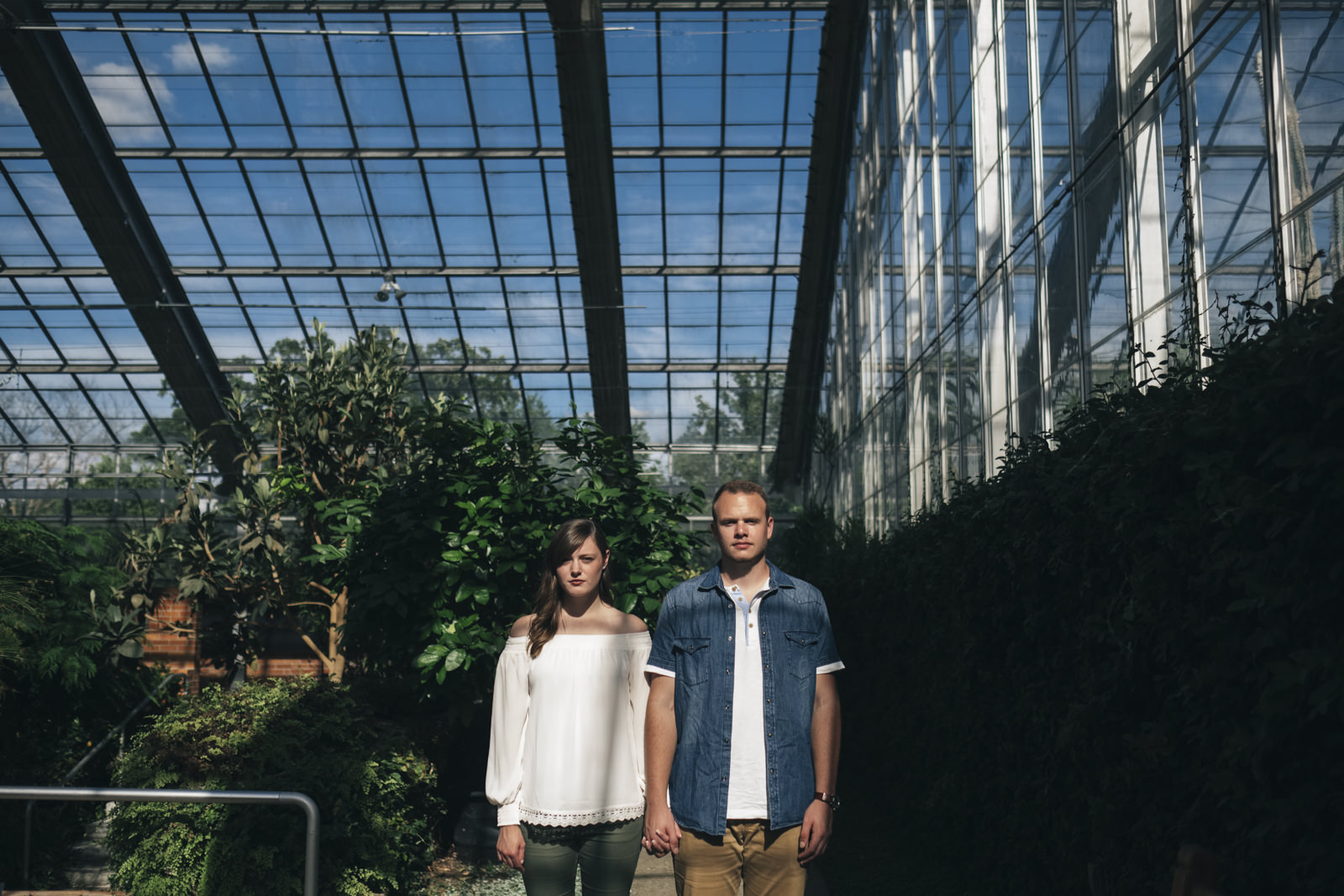 Engagement session in the conservatory at Matthaei Botanical Gardens.