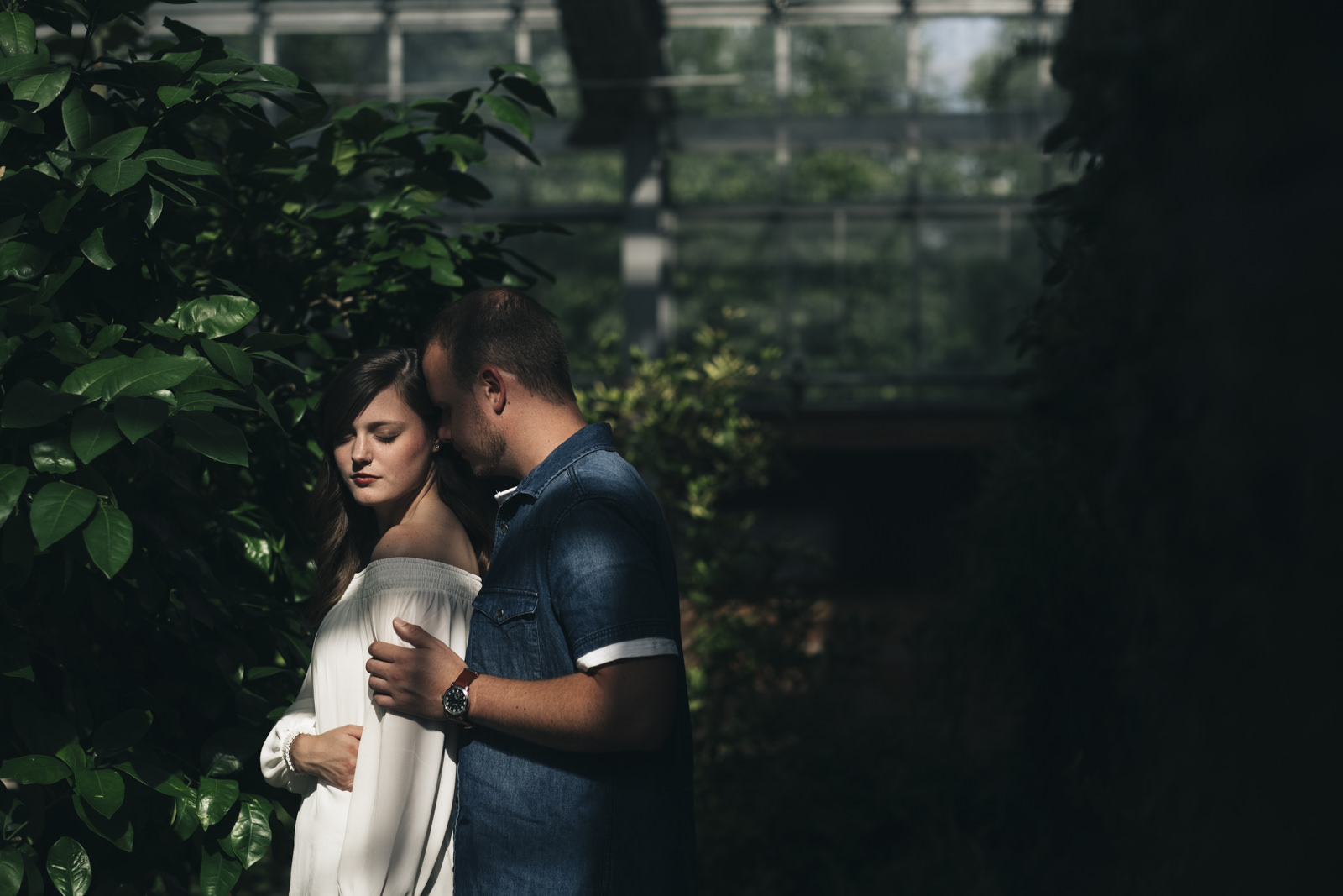 Engagement photography in Ann Arbor Conservatory.