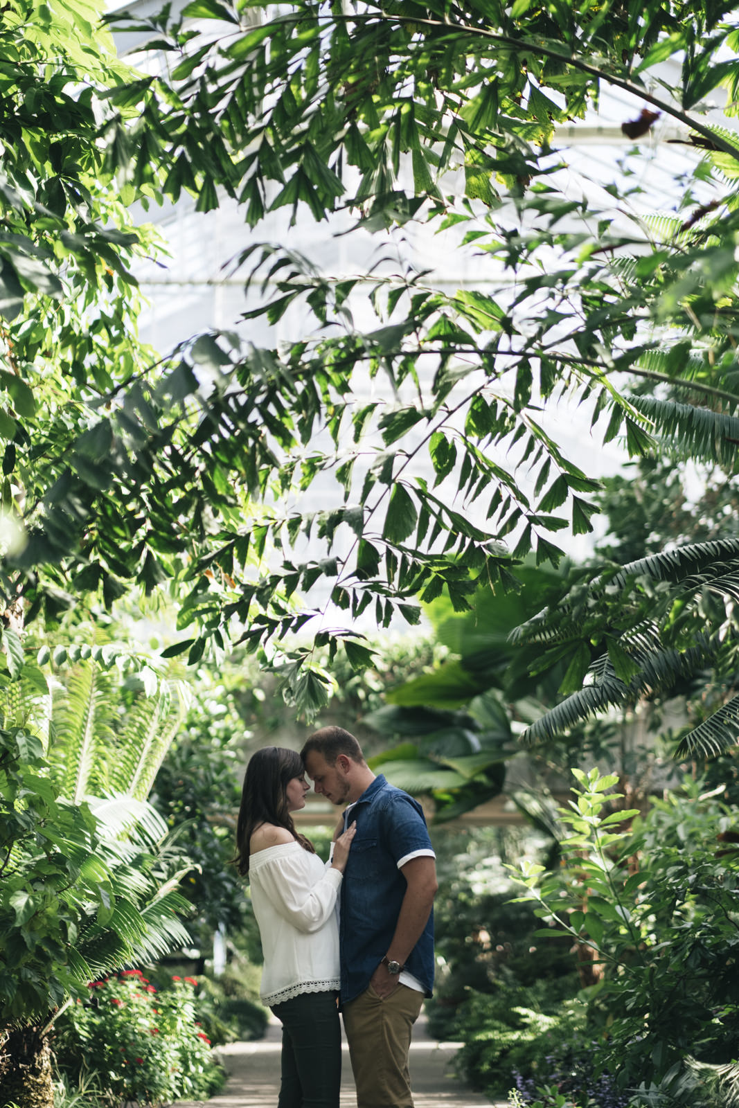 Engagement session portrait in beautiful greenery in Ann Arbor, Michigan.