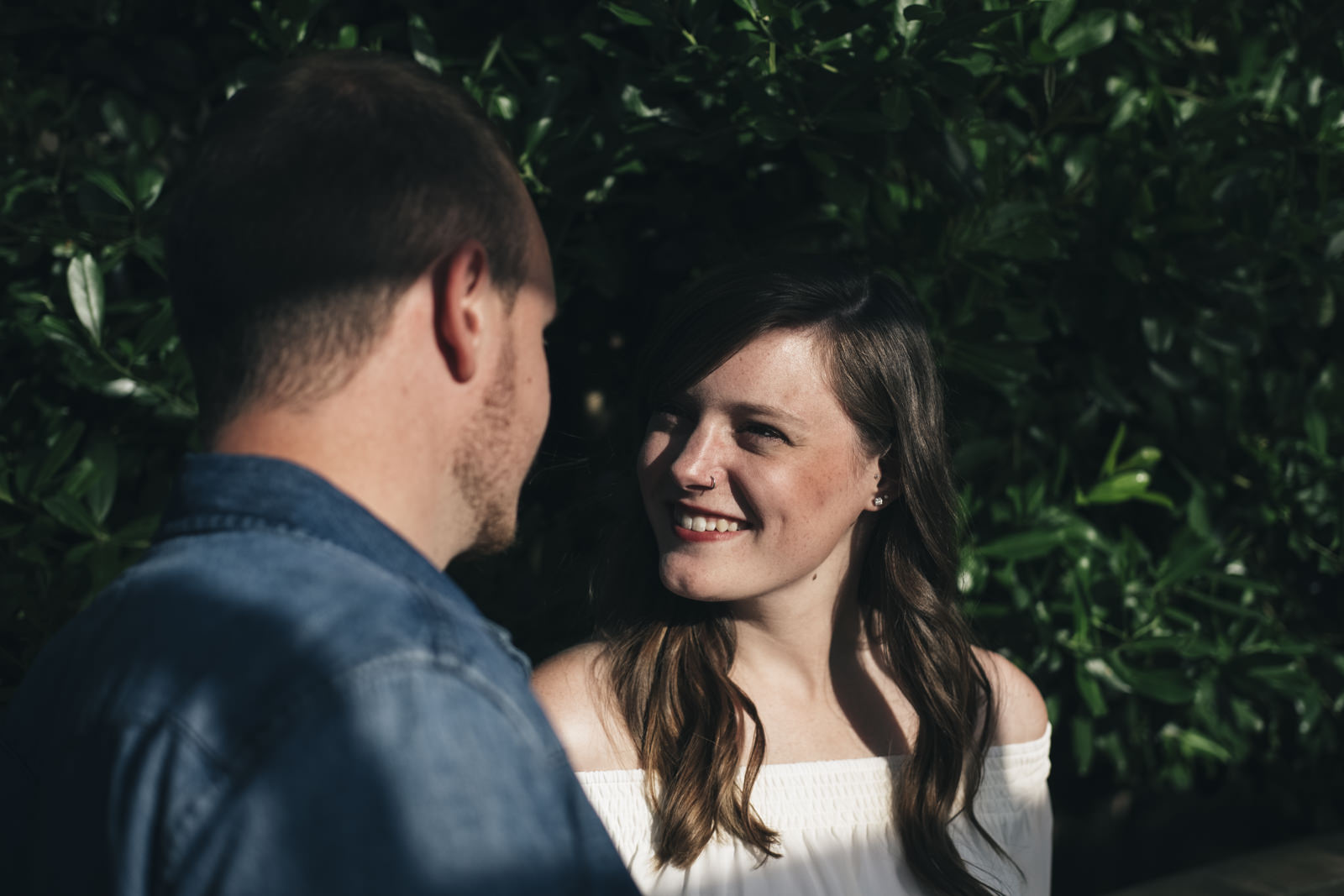 Happy bride-to-be during Ann Arbor, Michigan engagement session.