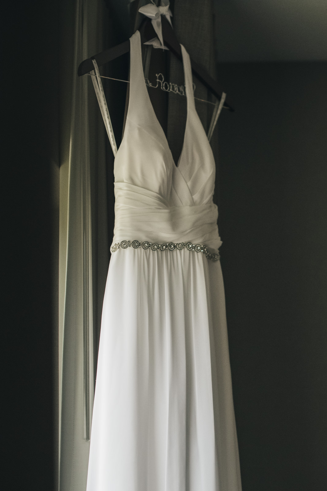 The brides dress before her elopement at the Toledo Botanical Gardens in Ohio.