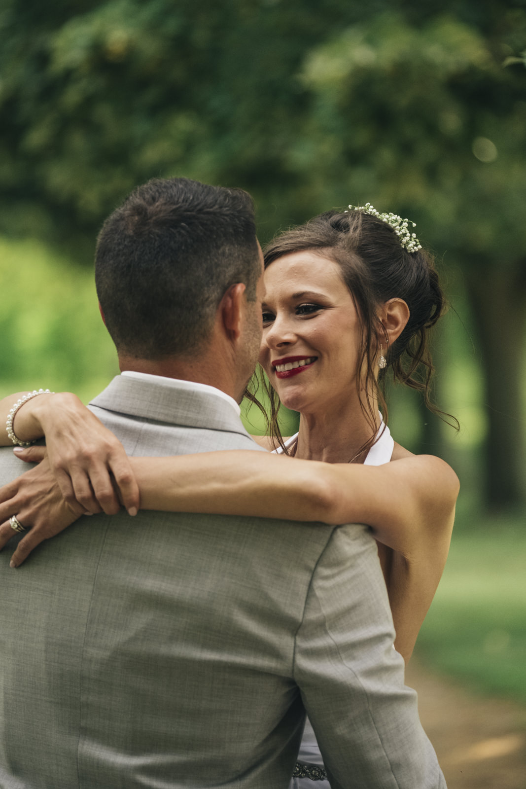 Bride and groom dance after their Toledo elopement.