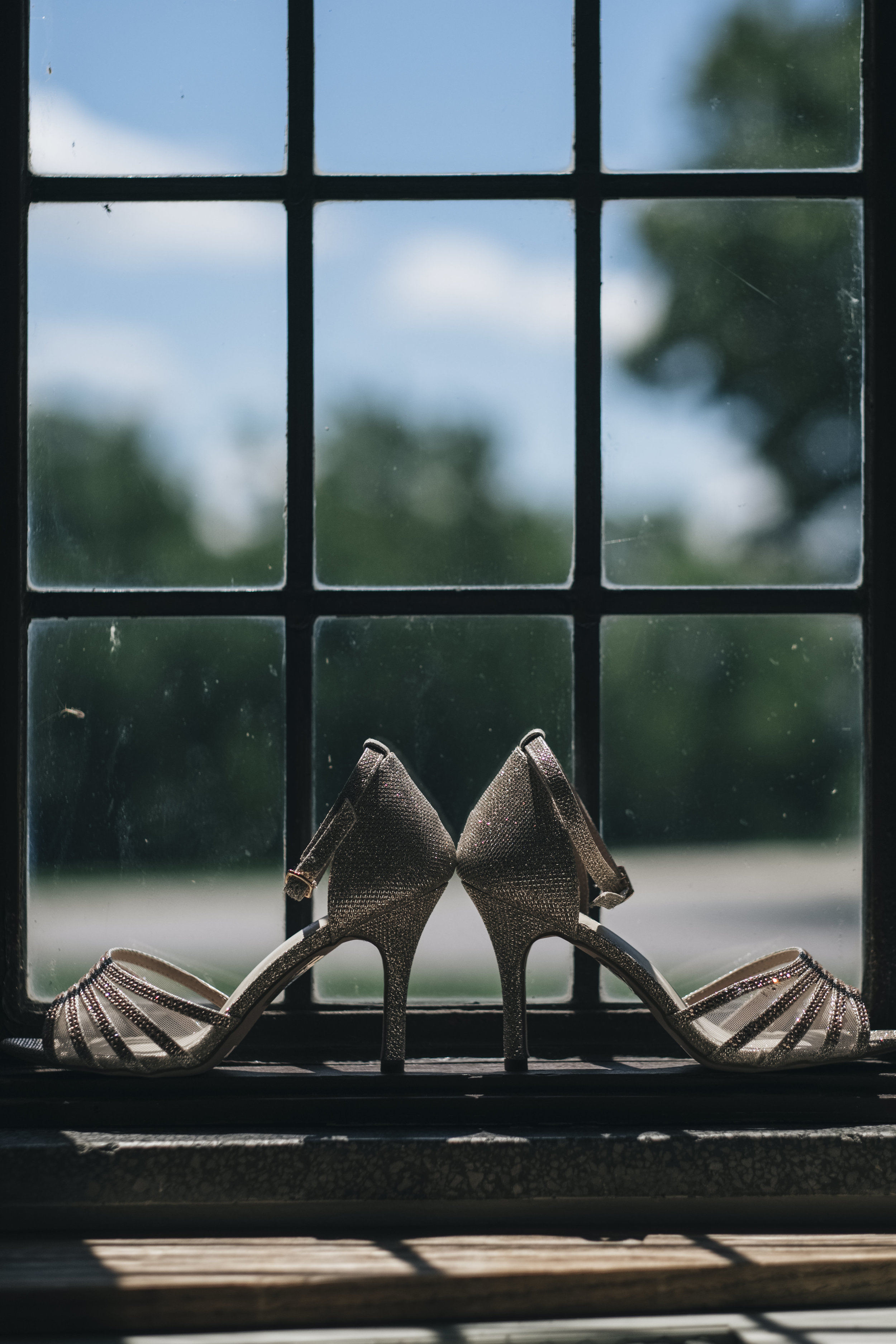 Detail picture of the bride's shoes at Nazareth Hall.