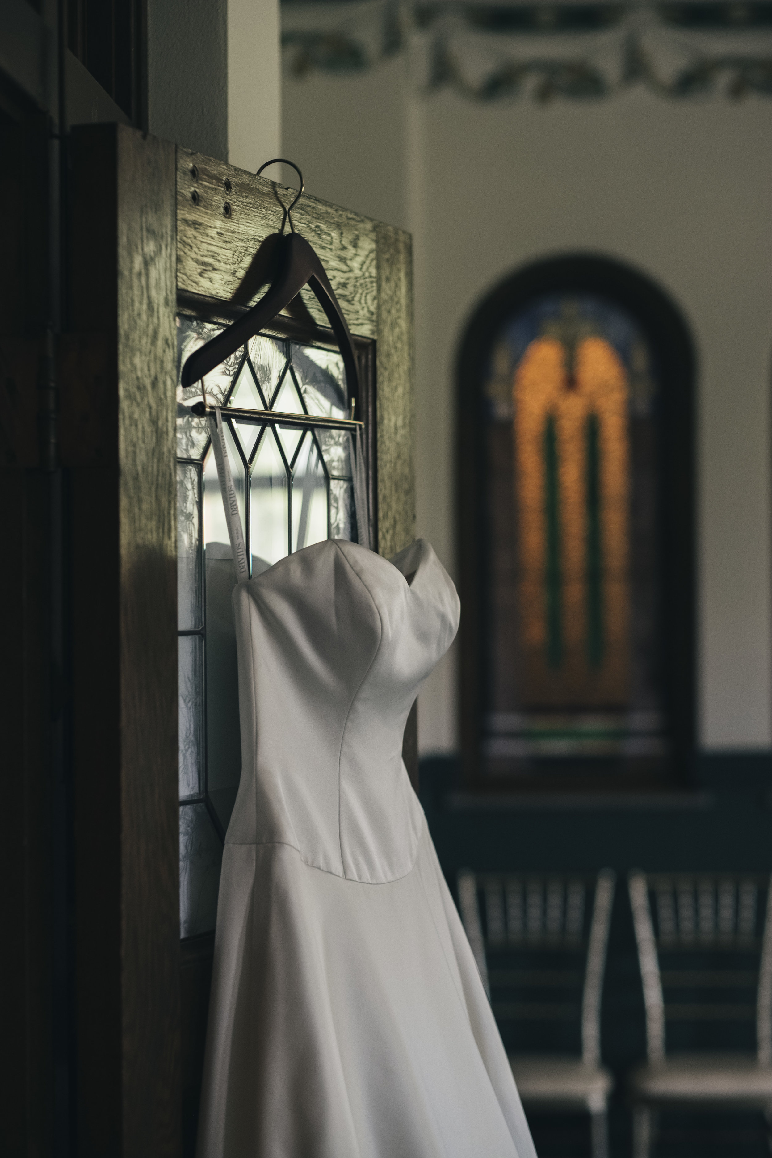 Picture of the brides dress at Nazareth Hall.