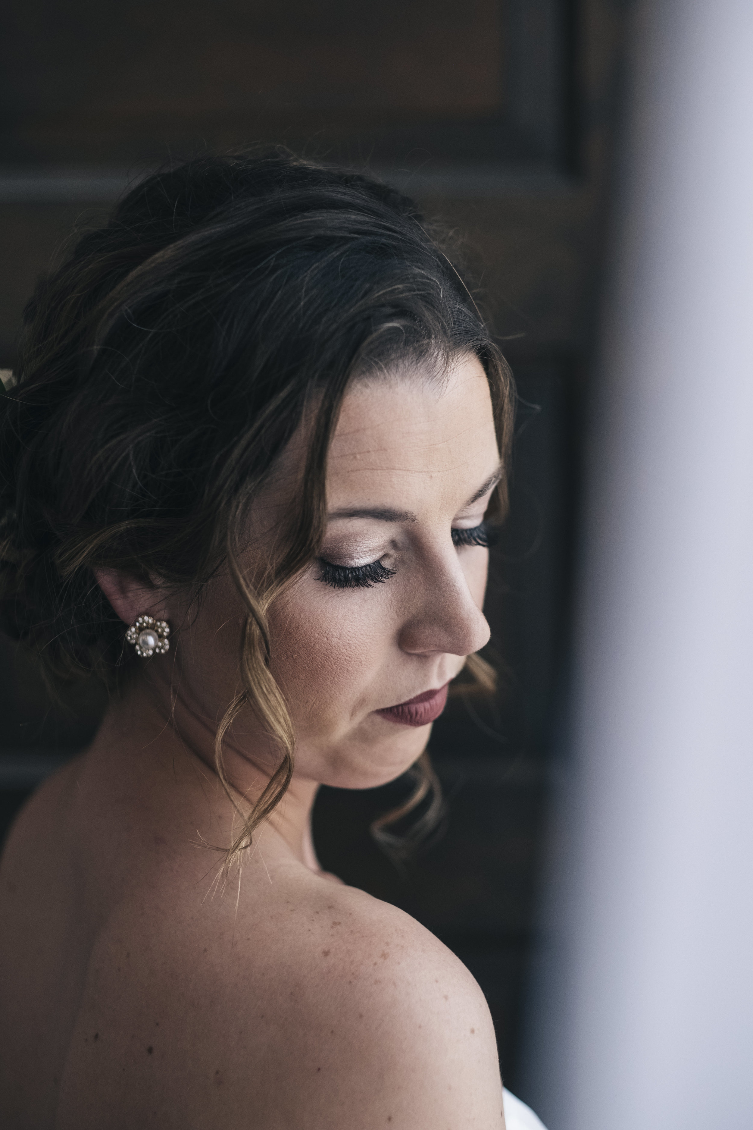 Portrait of the bride before her wedding at Nazareth Hall near Toledo, Ohio.
